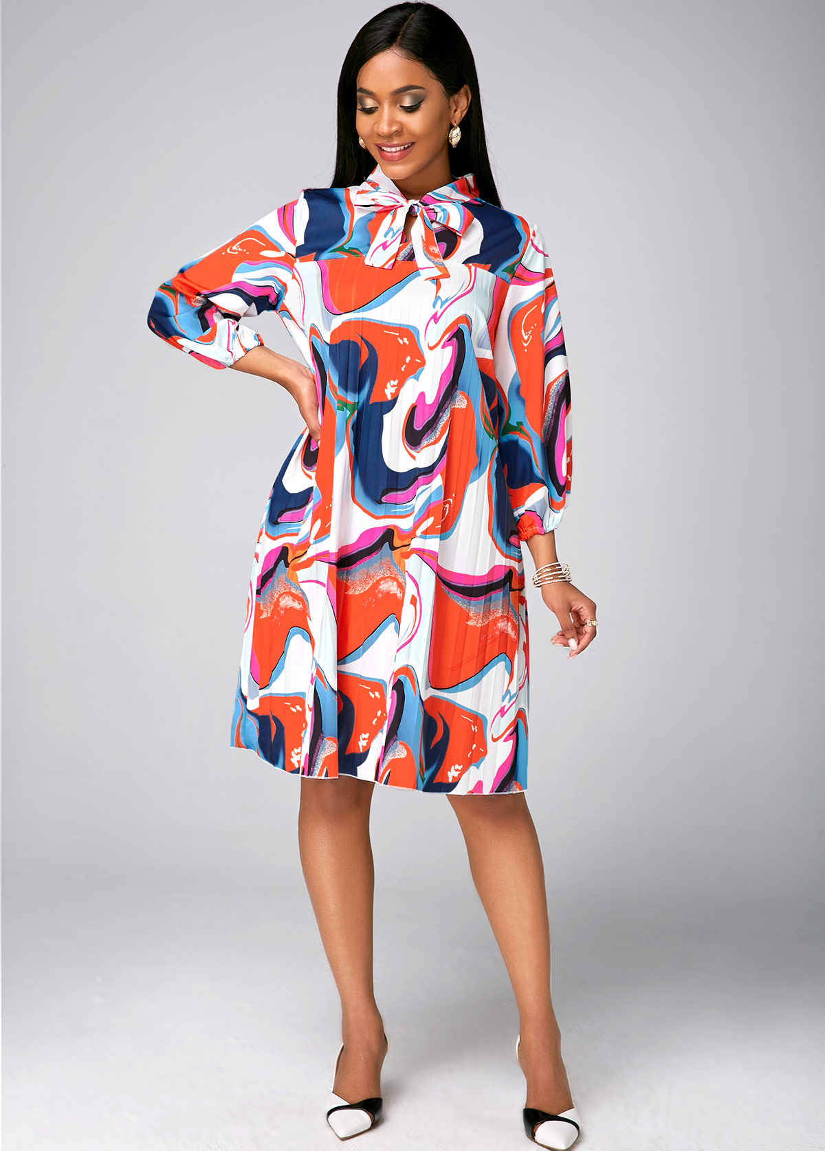 Bowknot Three Quarter Sleeve Printed Dress