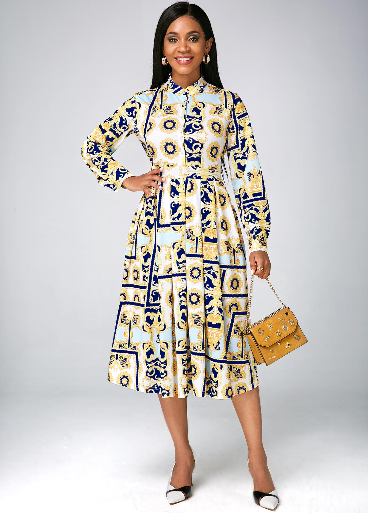 Stand Collar Digital Print Long Sleeve Dress