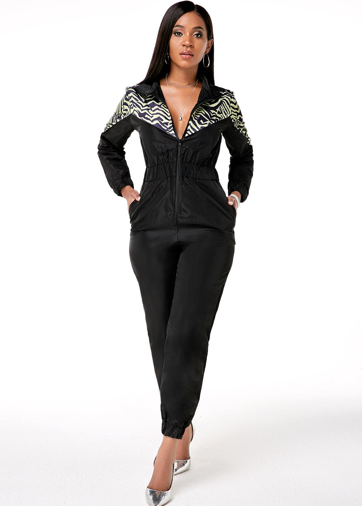 Printed Zipper Closure Side Pocket Jumpsuit
