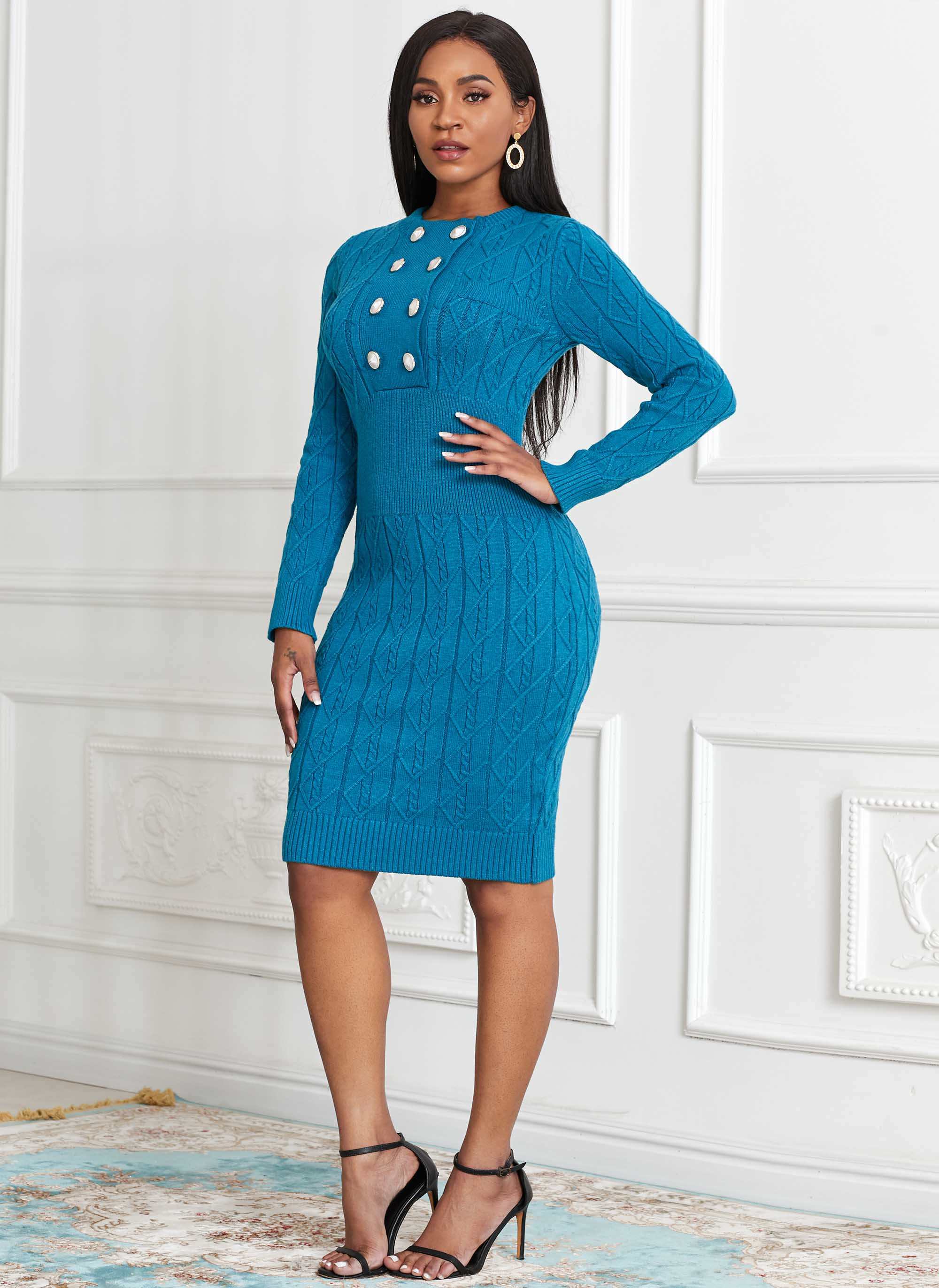 Double Breasted Long Sleeve Sweater Dress