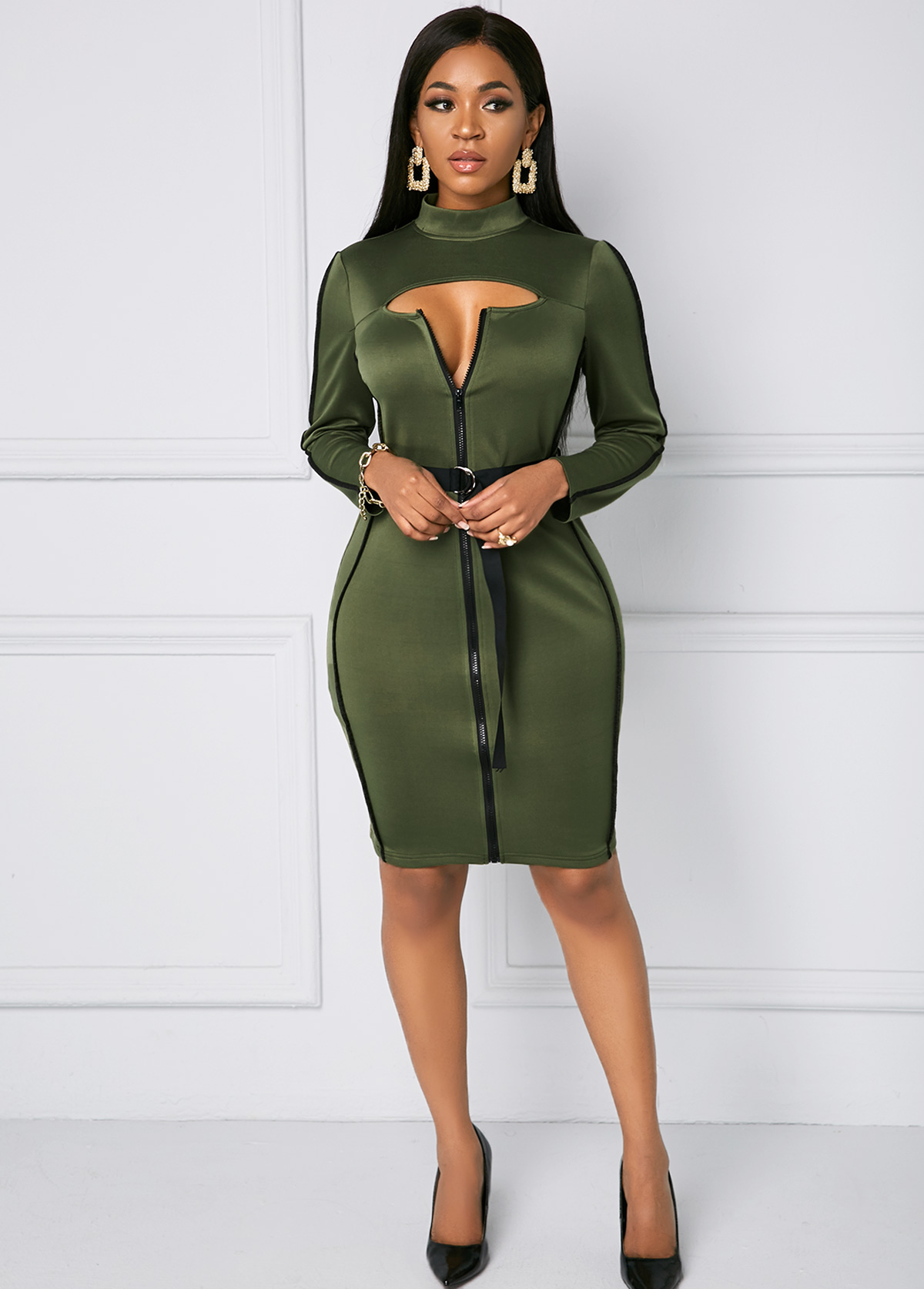 Belted Cutout Long Sleeve Bodycon Dress