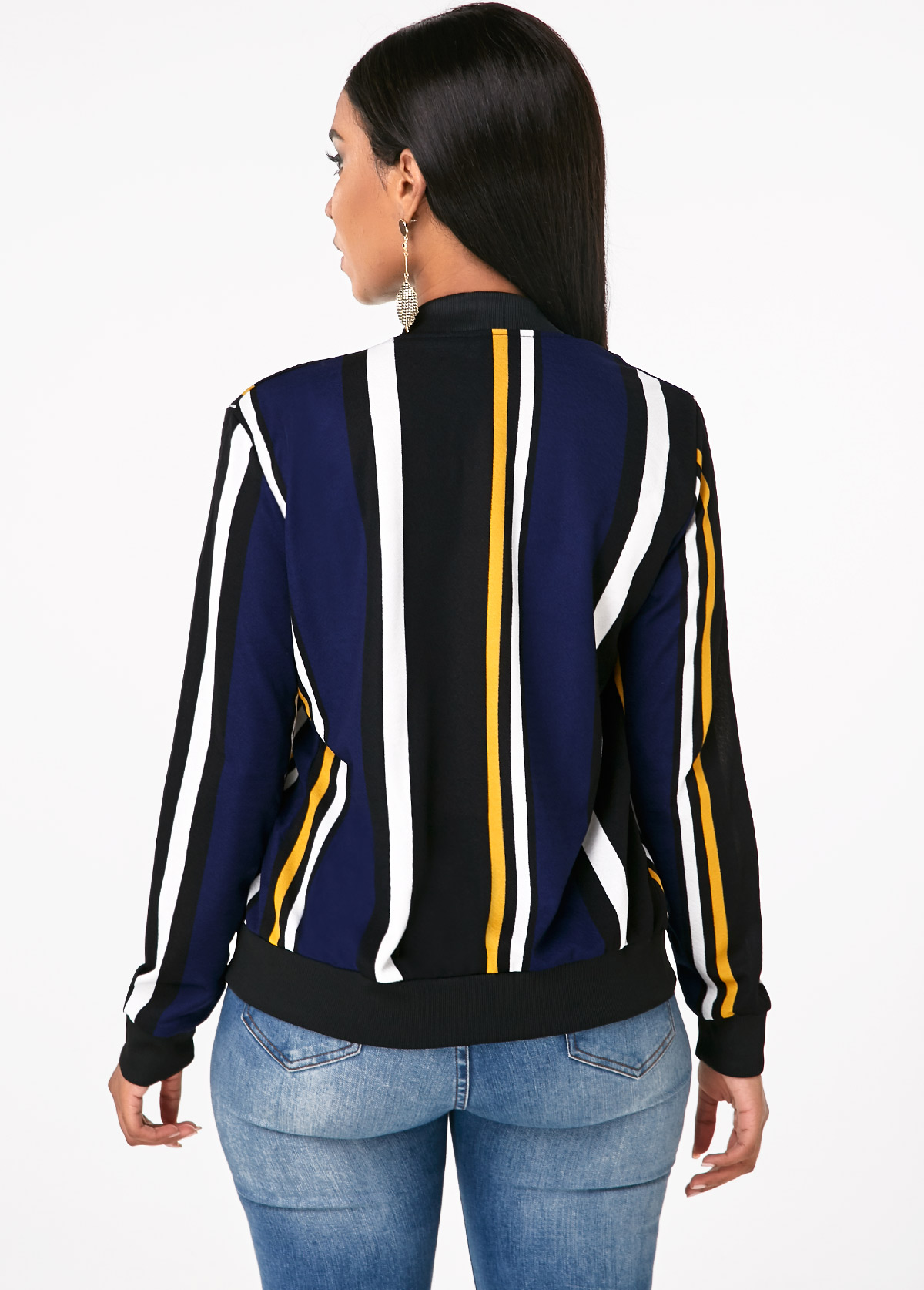 Striped Zipper Closure Side Pocket Jacket