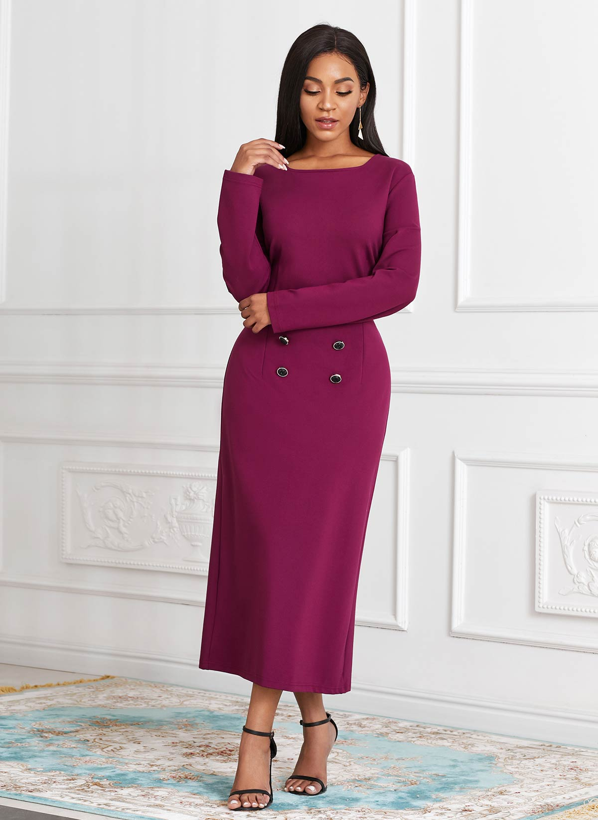 Cape and Button Front Sheath Dress