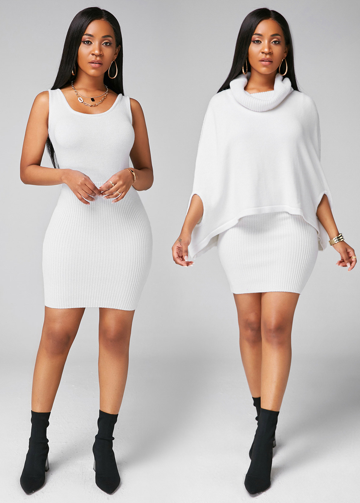 White Cowl Neck Cape Shoulder Top and Sweater Dress