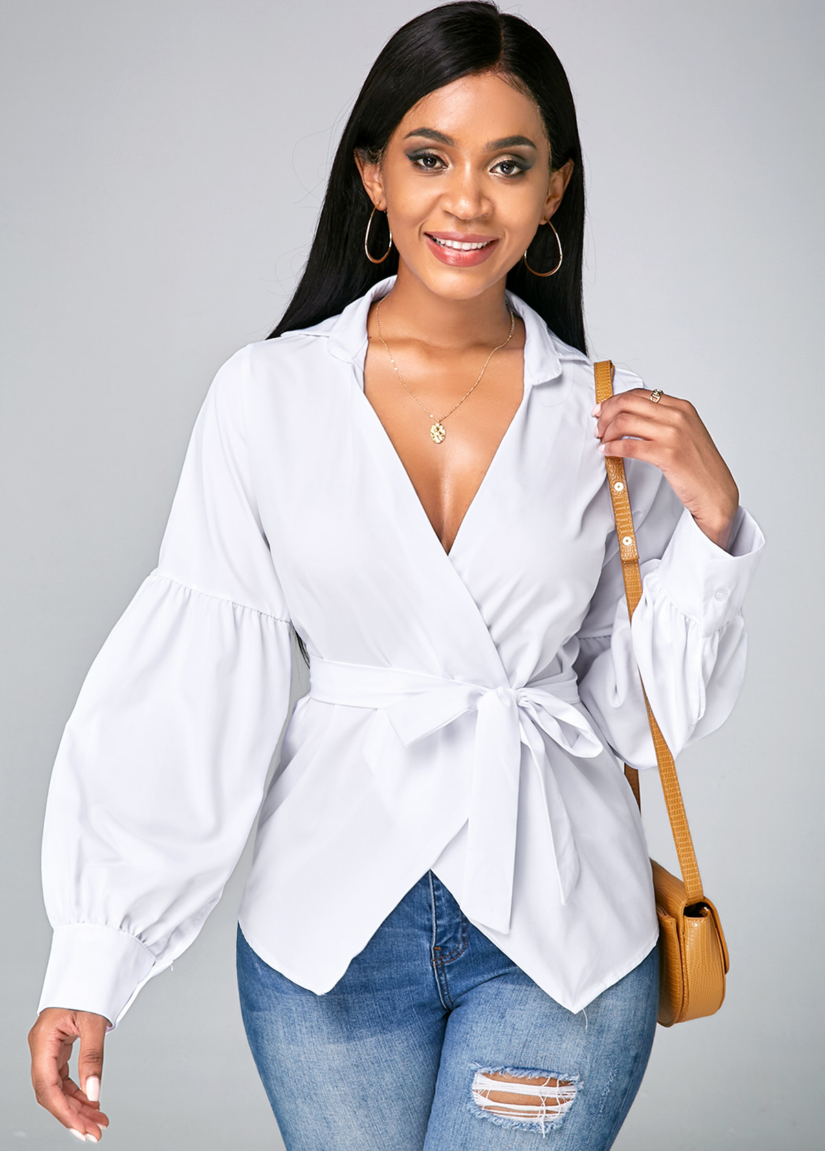 Asymmetric Hem V Neck Lantern Sleeve Blouse