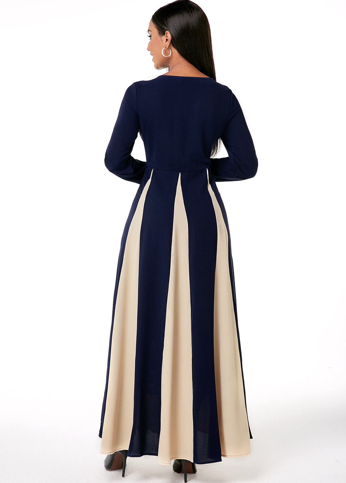 Embroidered Round Neck Long Sleeve Contrast Dress