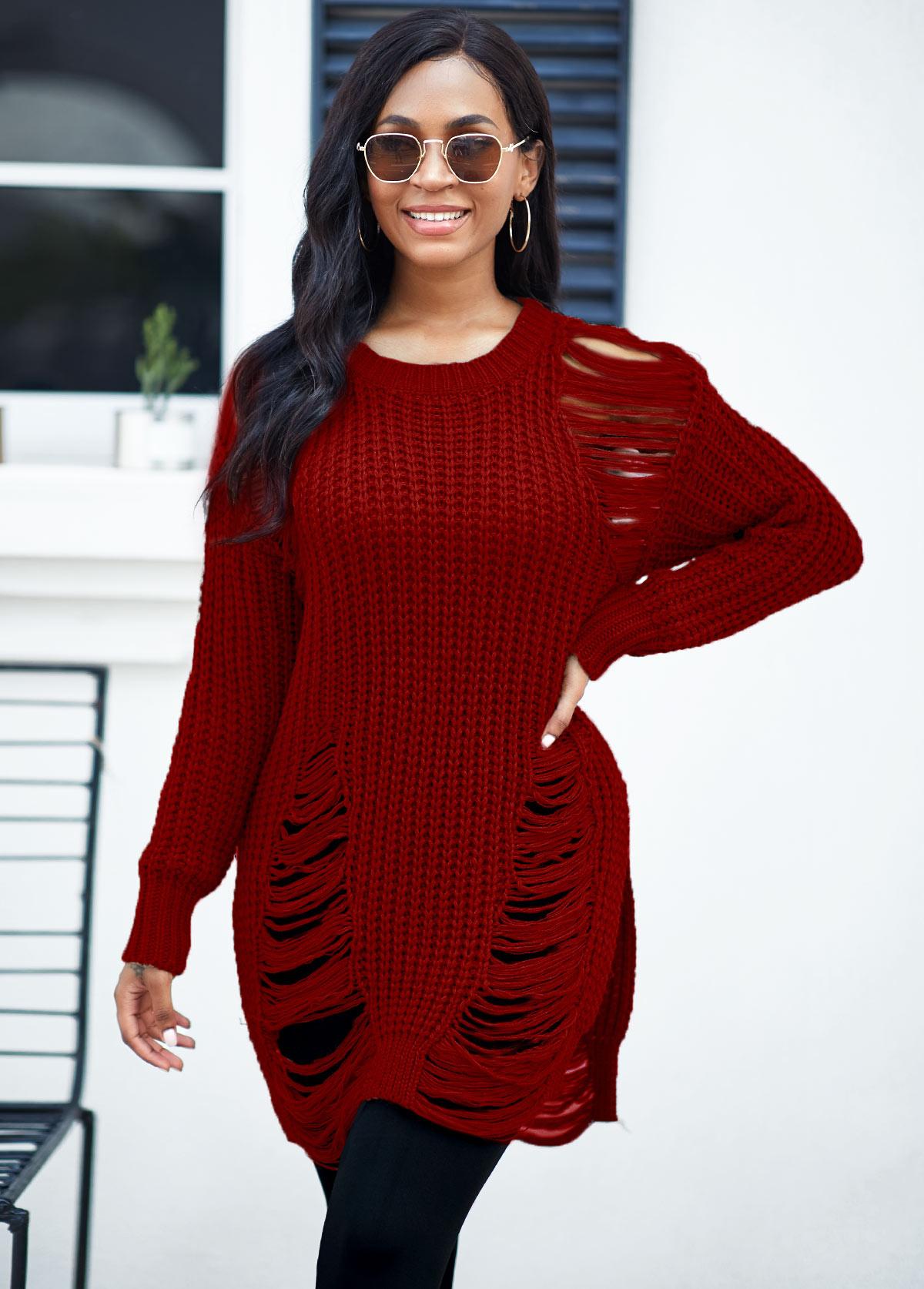 Long Sleeve Round Neck Draped Fringe Sweater