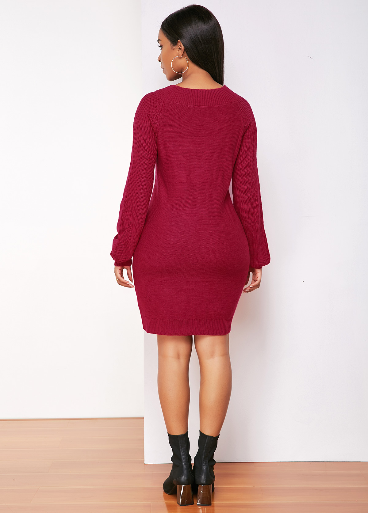 Rose Red Round Neck Long Sleeve Sweater Dress