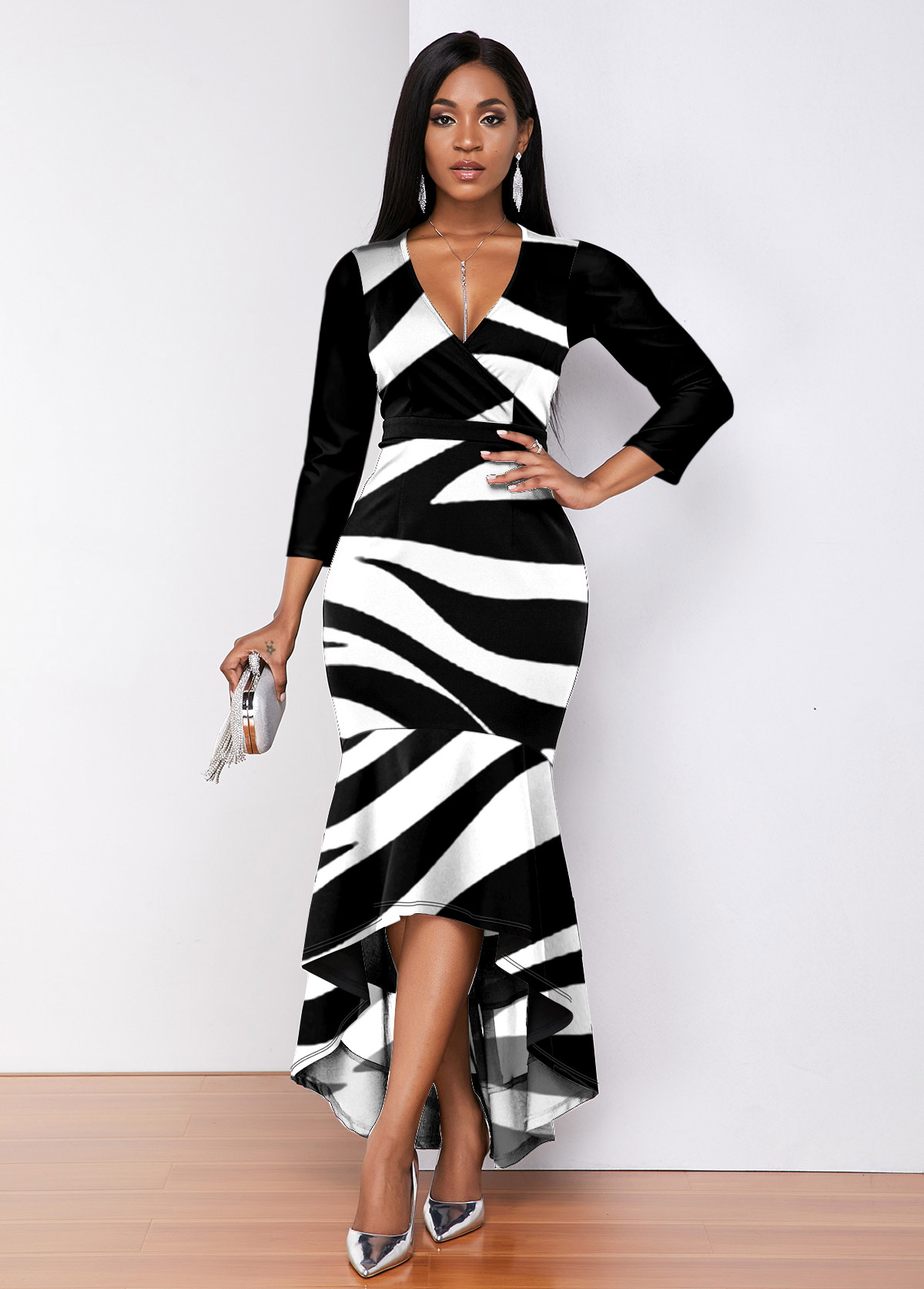 Plunging Neck Zebra Print High Low Dress