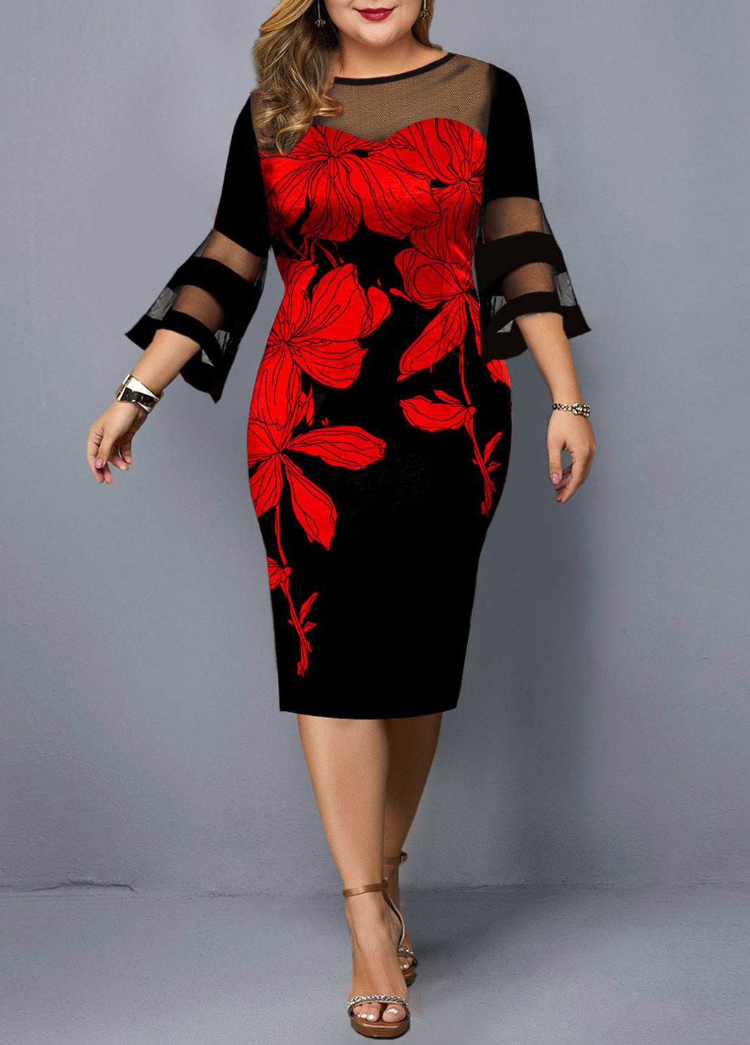 Mesh Panel Floral Print Plus Size Dress