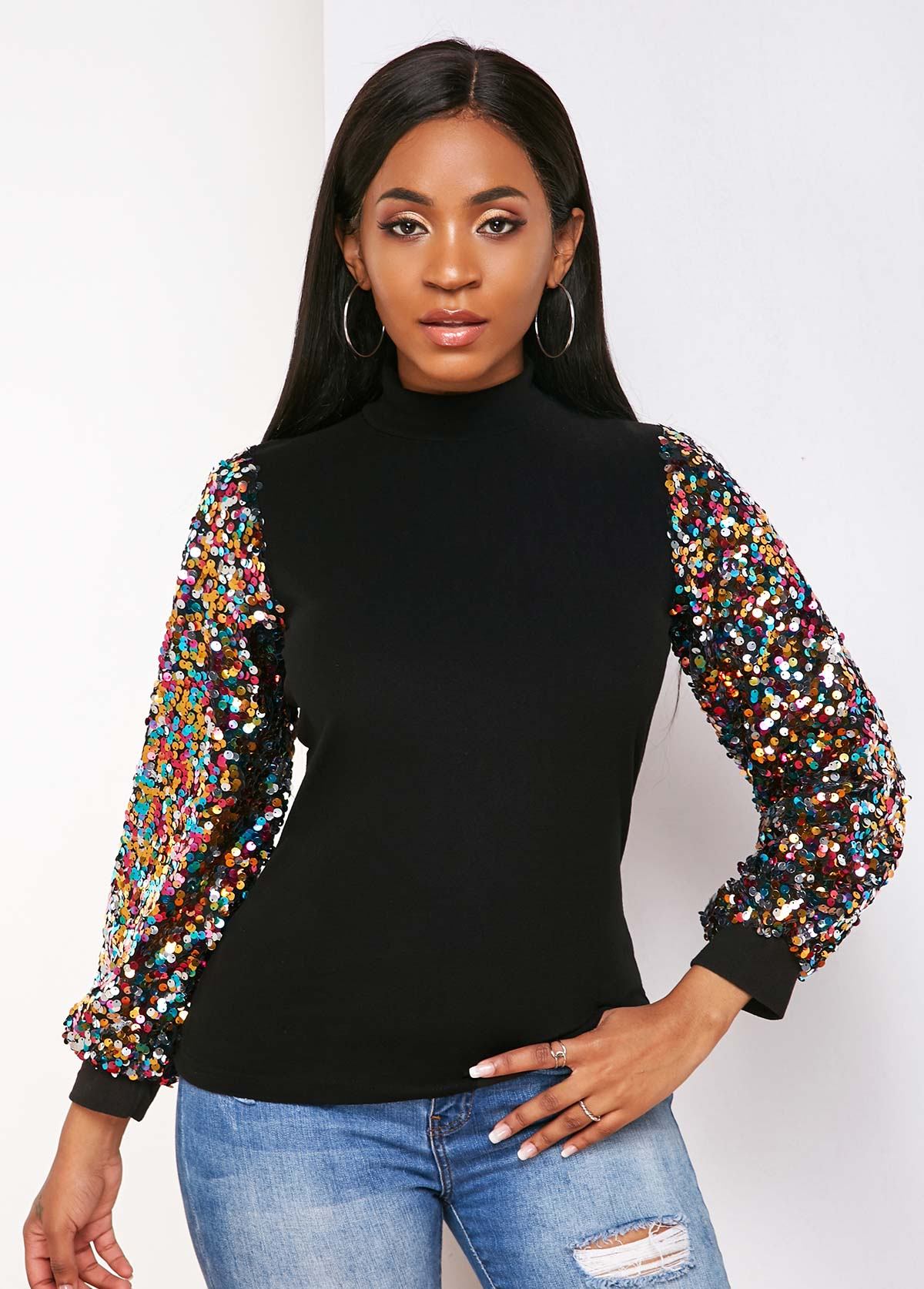 Mock Neck Sequin Sleeve Black Sweatshirt