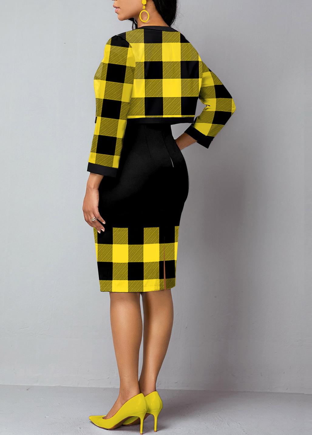 Plaid Print Open Front Cardigan and Sheath Dress