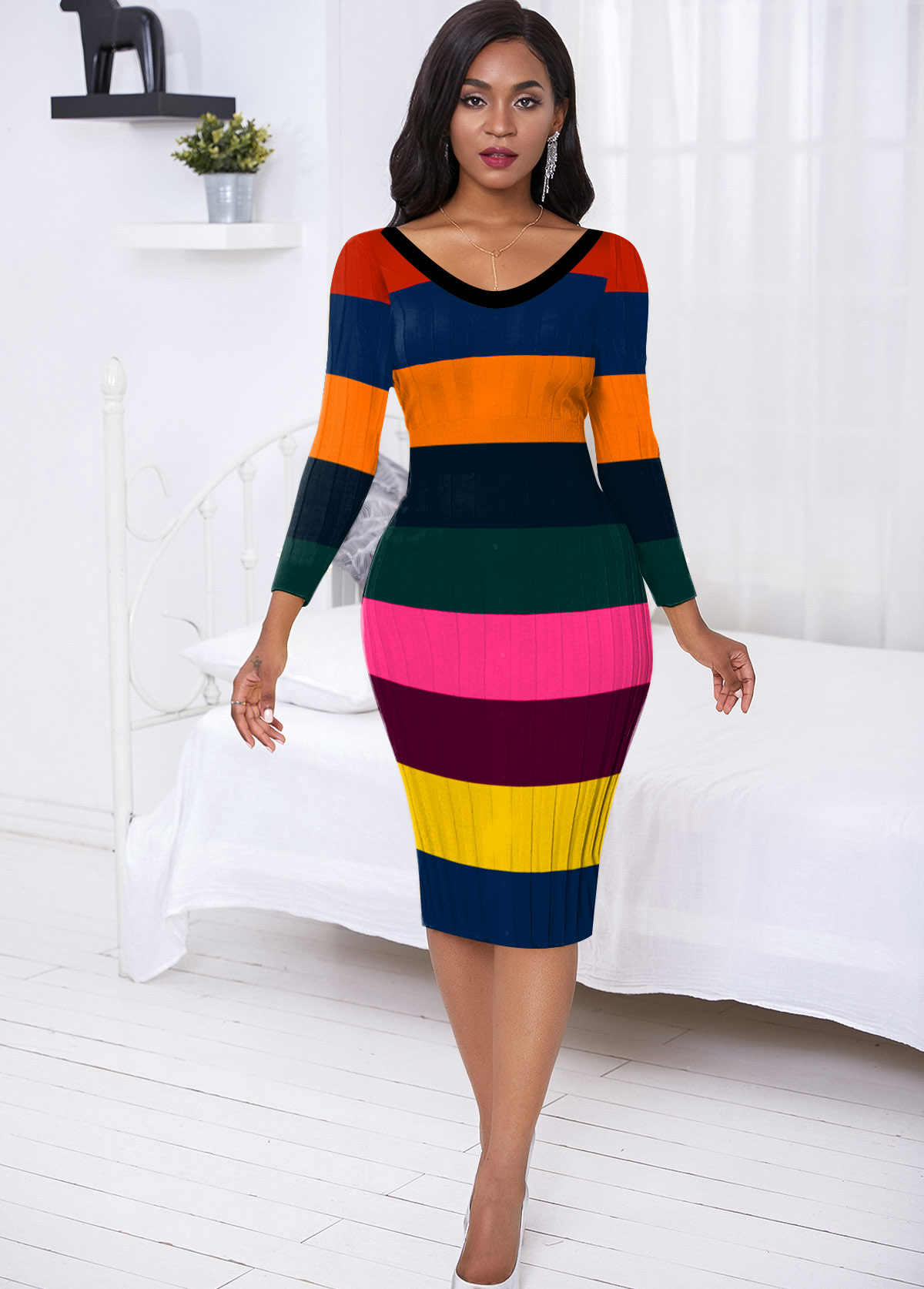 Back Slit Rainbow Stripe Sweater Dress
