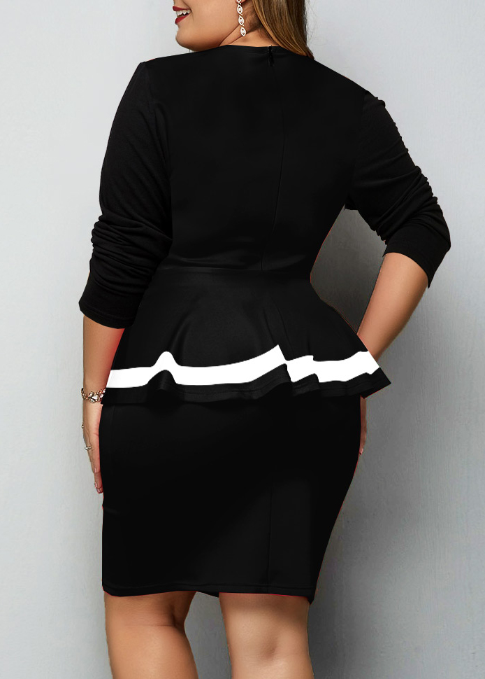 Contrast Piping Faux Two Piece Plus Size Dress
