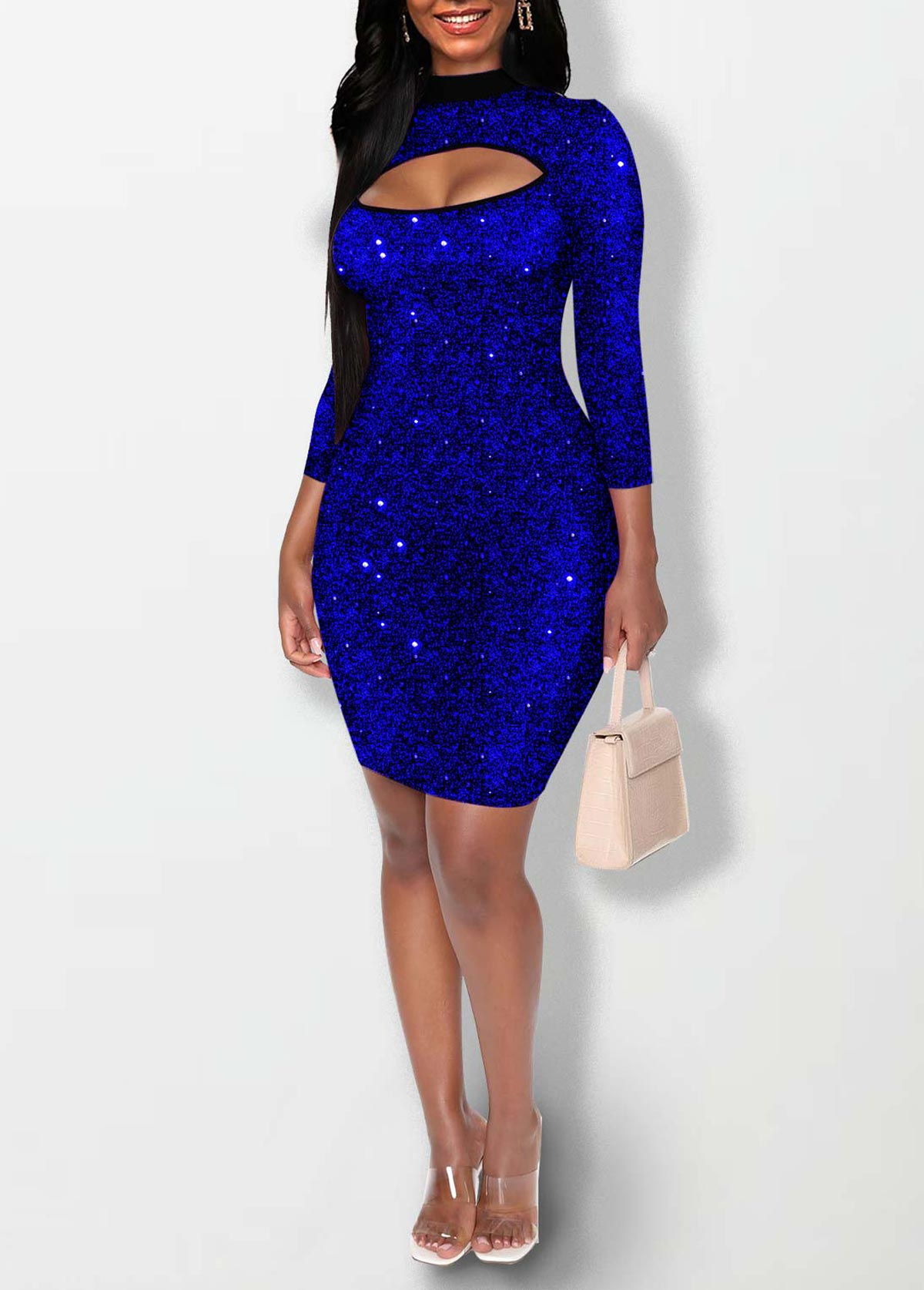 Cutout Front Three Quarter Sleeve Hot Stamping Dress