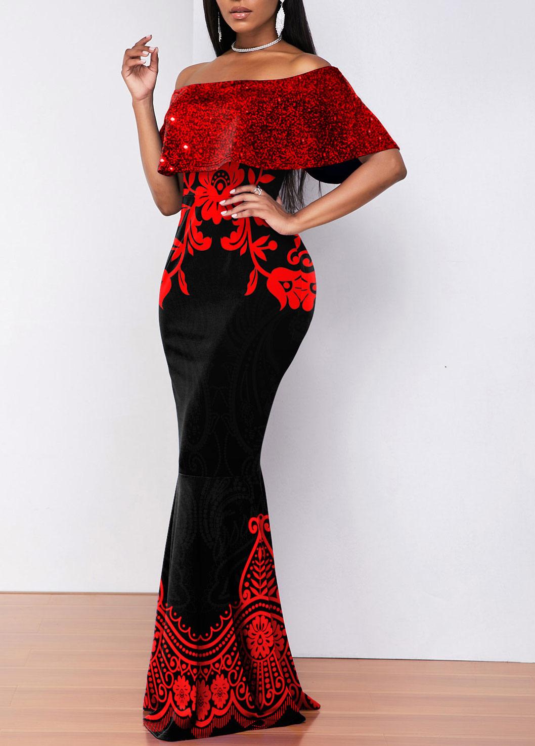 Floral Print Off Shoulder Sequin Overlay Mermaid Dress
