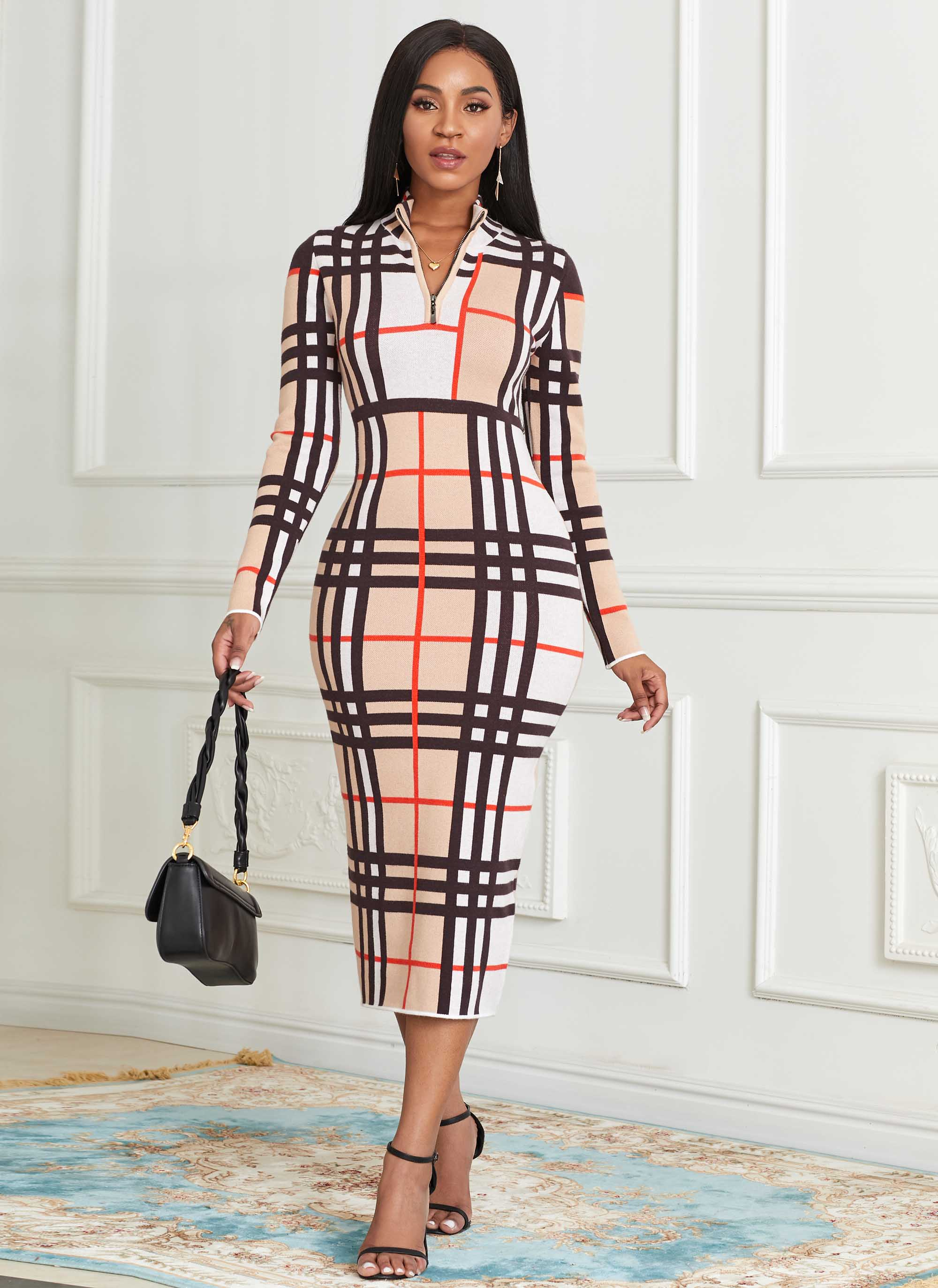 Plaid Long Sleeve Zip Front Sweater Dress