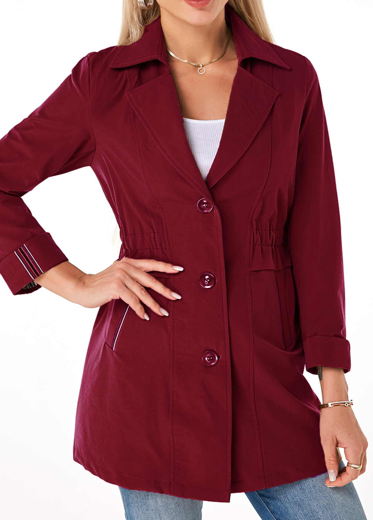 Turndown Collar Button Up Pocket Trench Coat