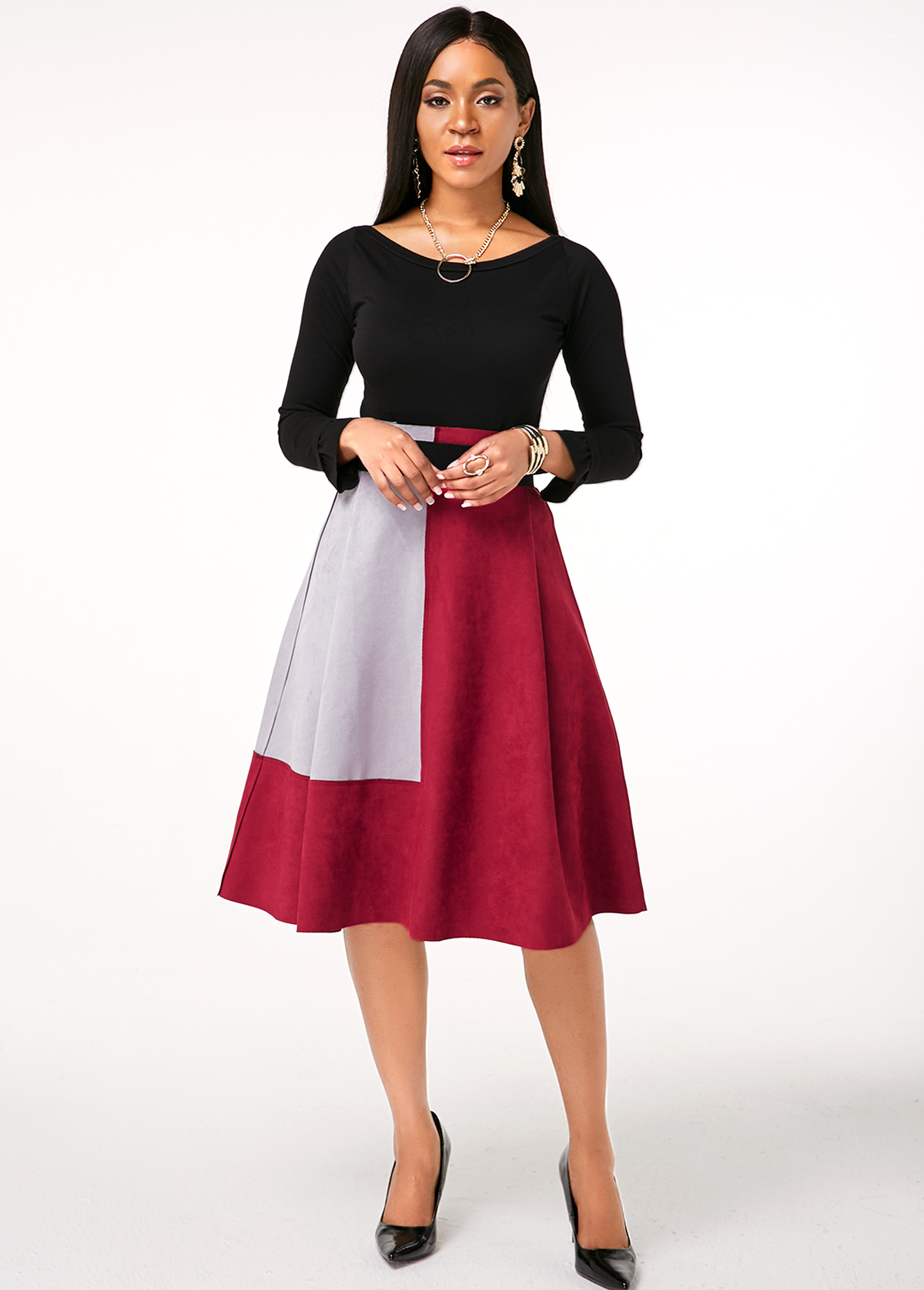Round Neck Long Sleeve Top and Contrast Skirt