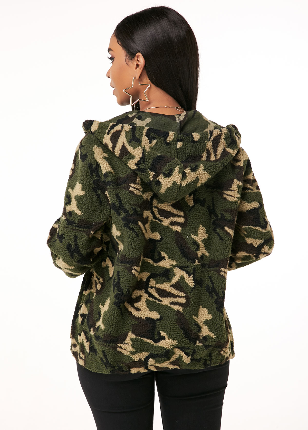 Hooded Collar Zipper Closure Camouflage Print Fluffy Jacket