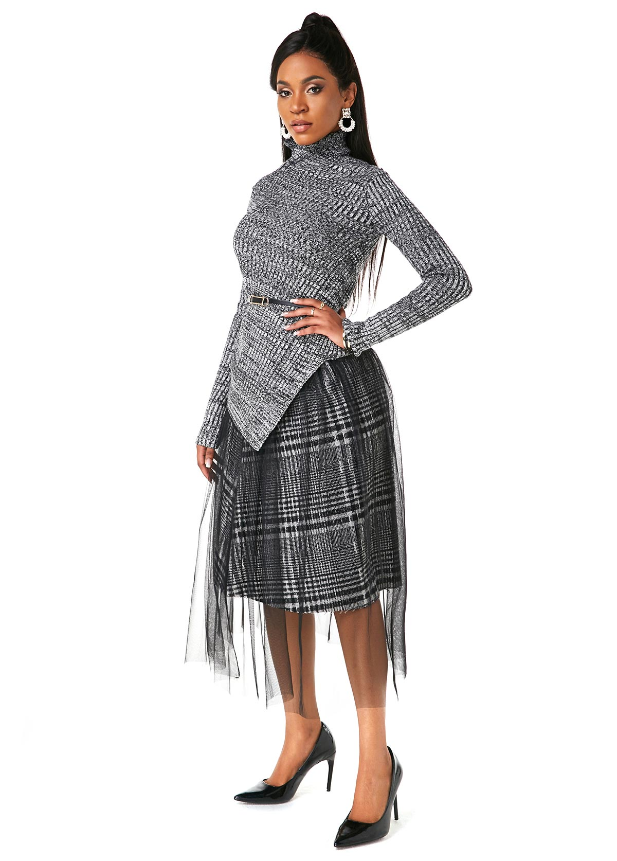 Asymmetric Hem Sweater and Mesh Overlay Skirt