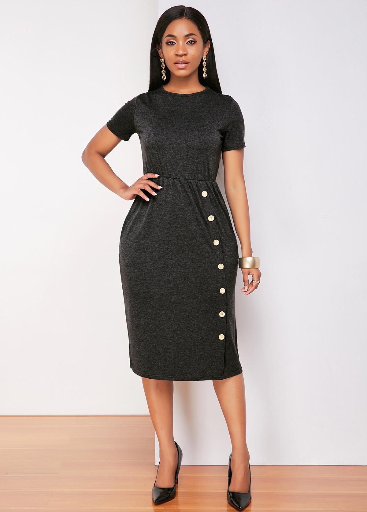 Pocket Short Sleeve Decorative Button Dress