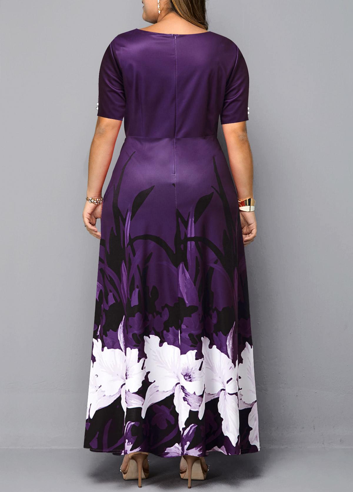 Floral Print Keyhole Neckline Plus Size Dress