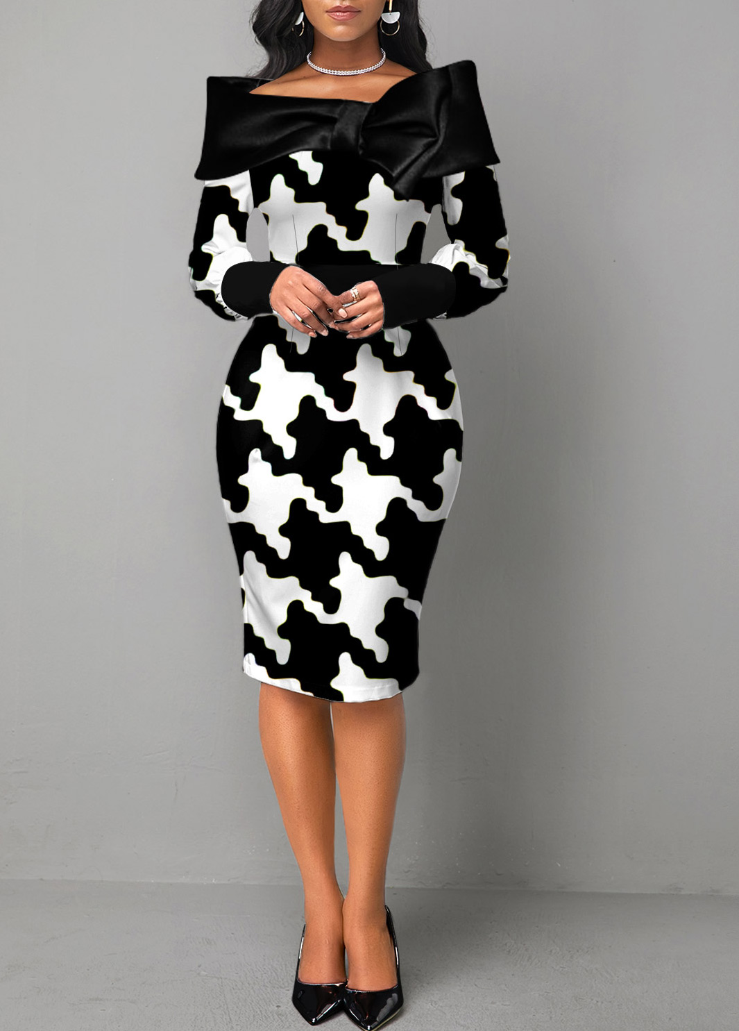Color Block Houndstooth Print Long Sleeve Dress