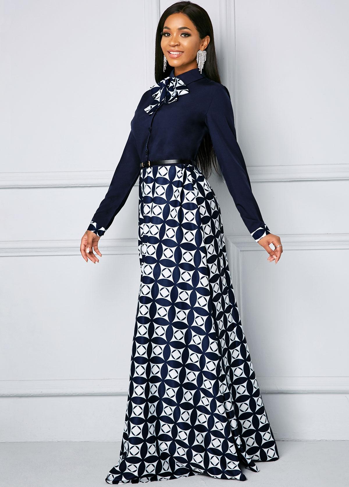 Bowknot Long Sleeve Geometric Print Maxi Dress