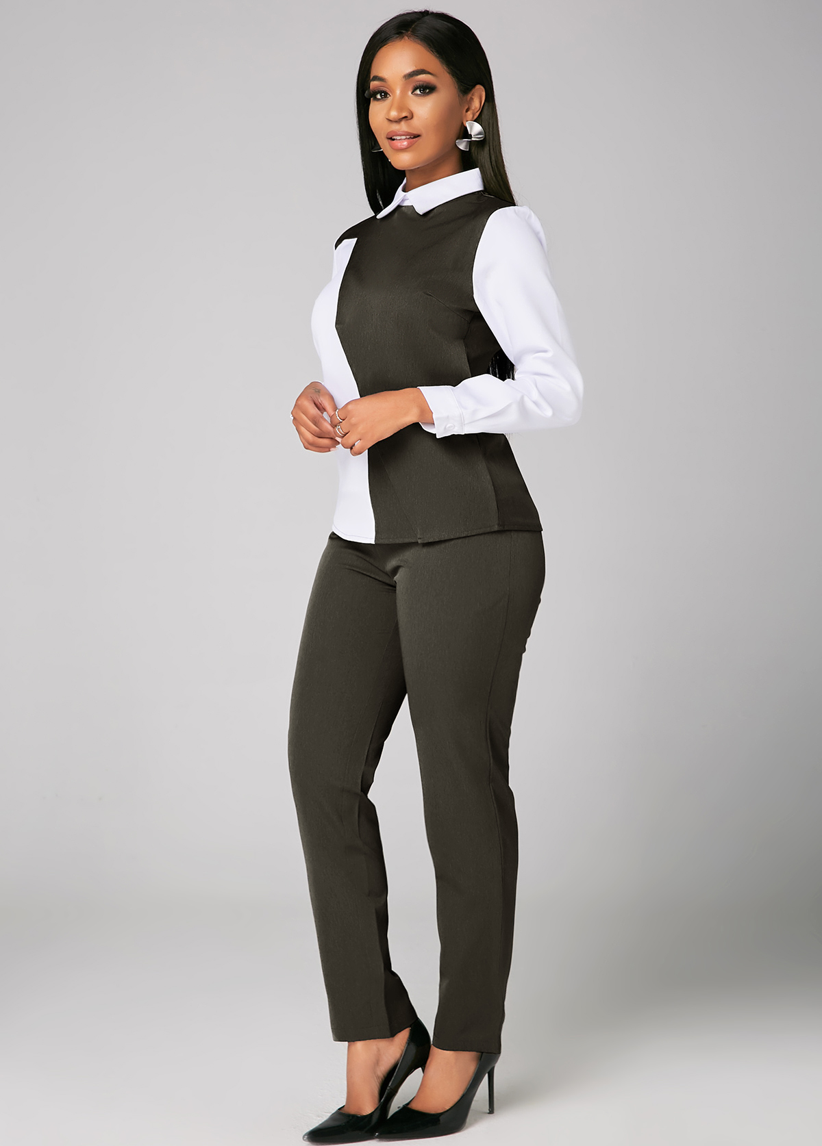 Grey Pants and Contrast Turndown Collar Blouse