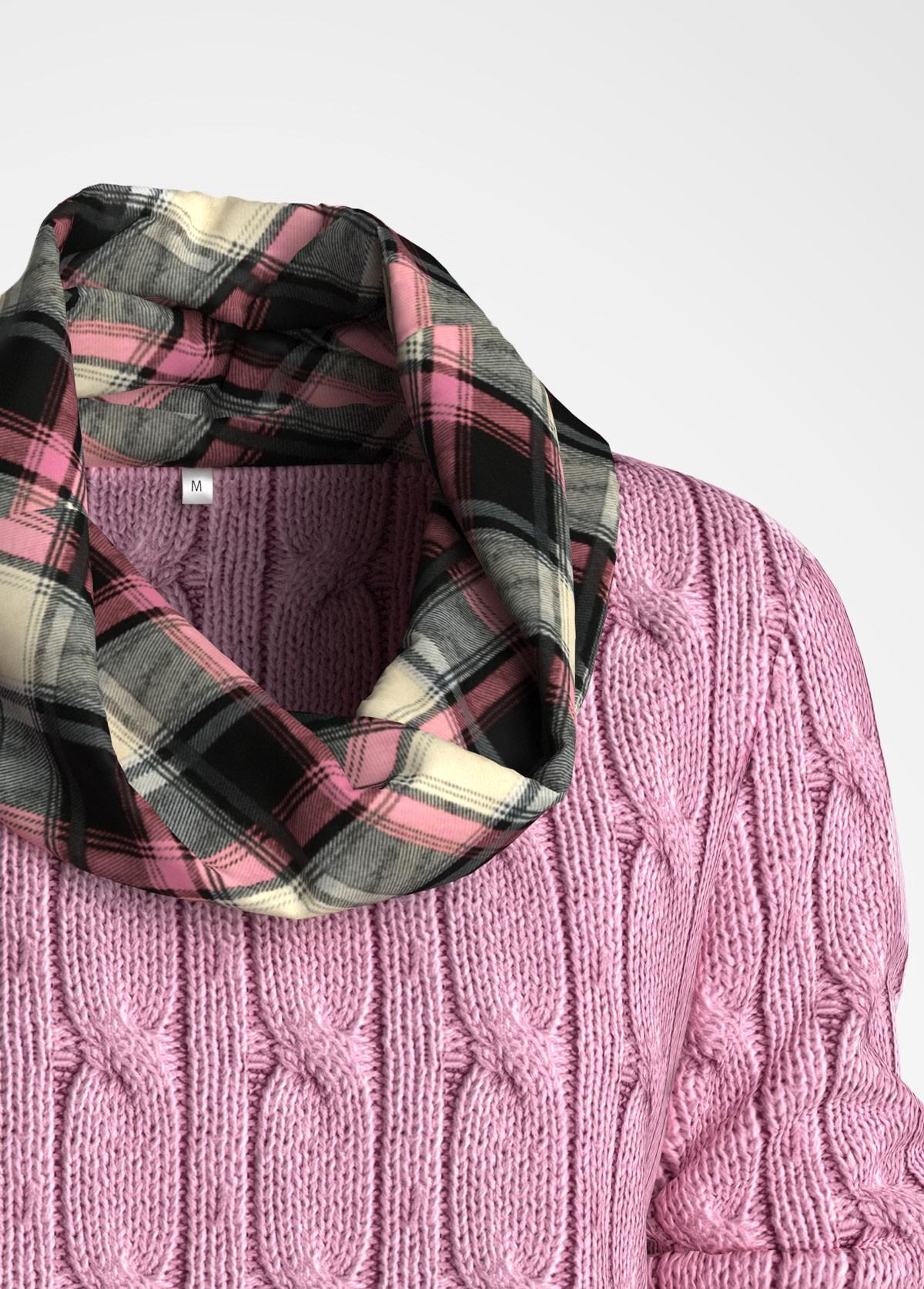 Plus Size Plaid Print Cowl Neck Sweater