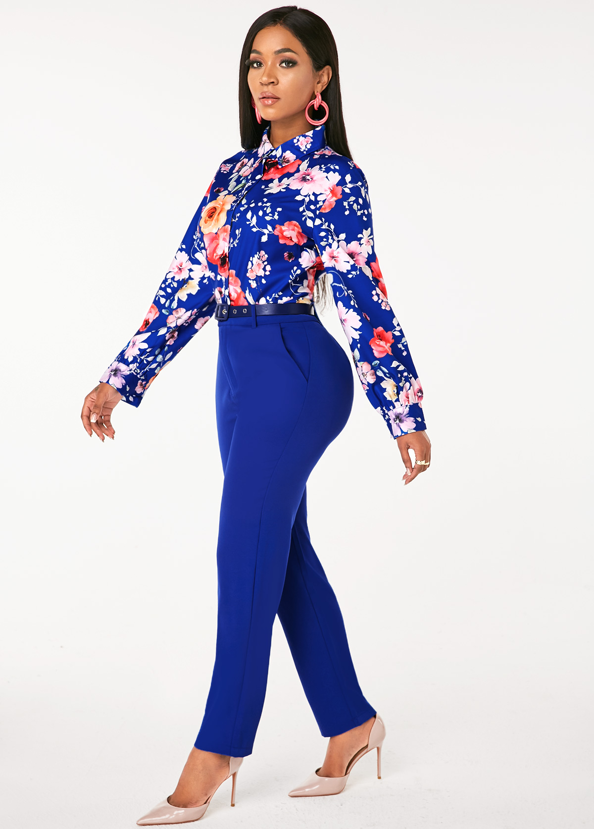 Floral Print Shirt and Buckle Belted Pants