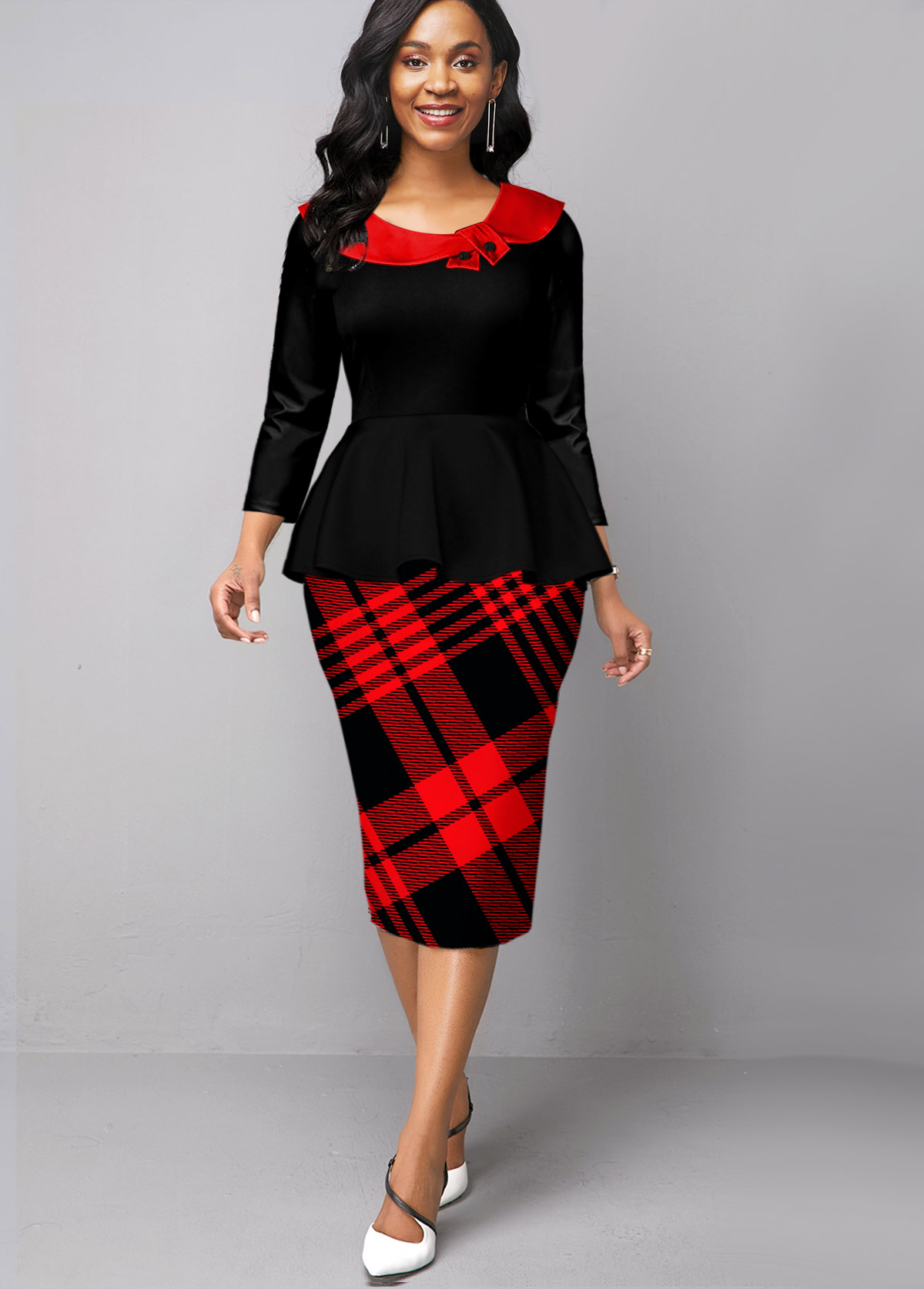 Plaid Long Sleeve Faux Two Piece Dress