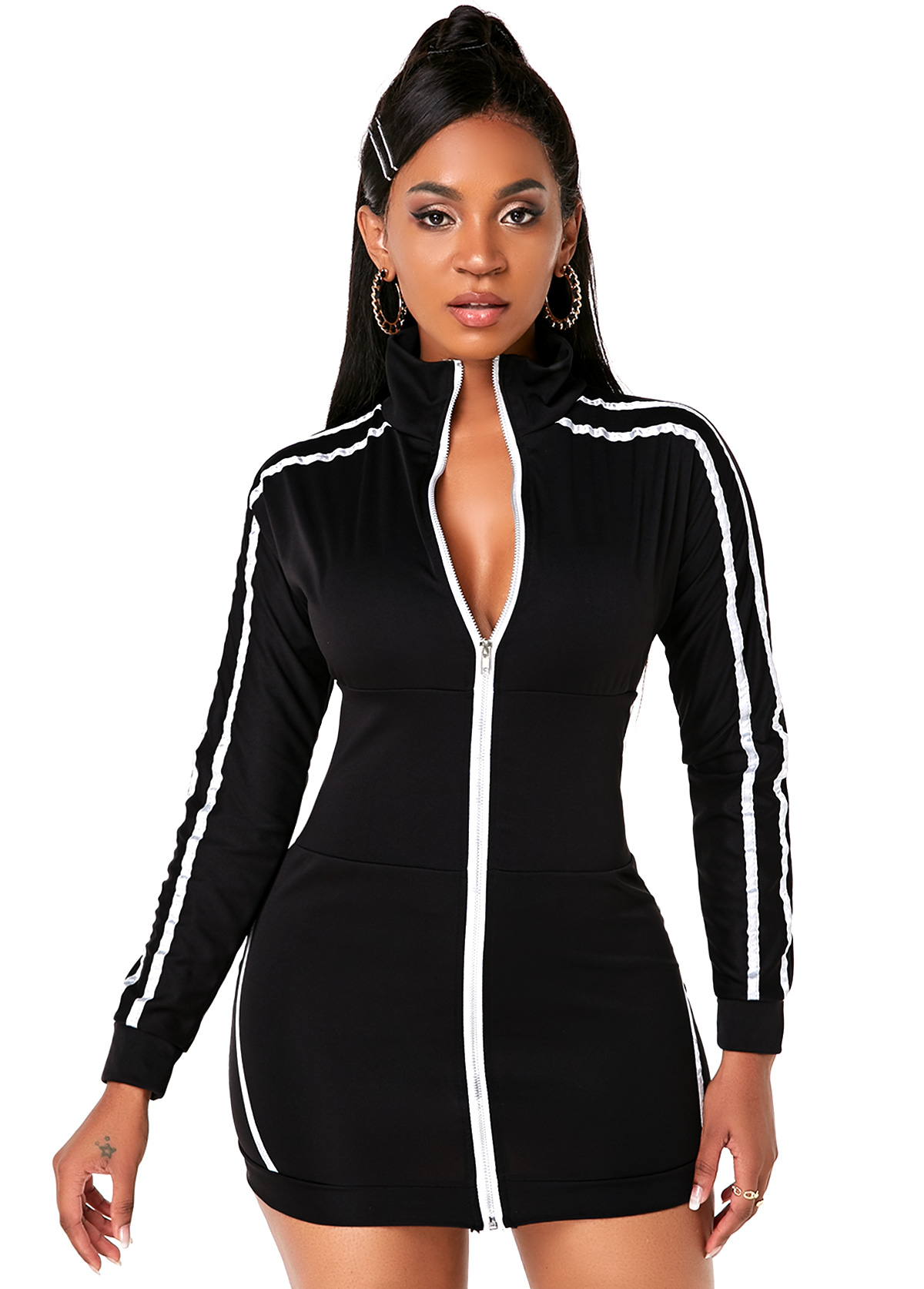 Striped Zipper Closure Long Sleeve Mini Dress