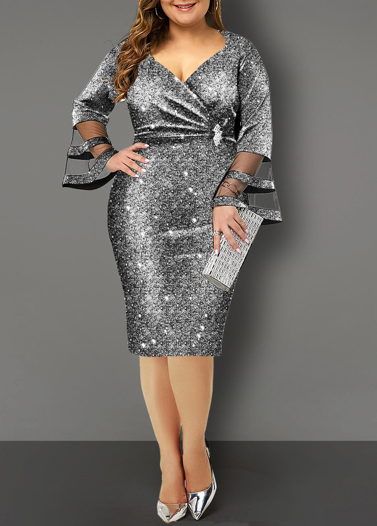 Hot Stamping Flare Sleeve Plus Size Dress