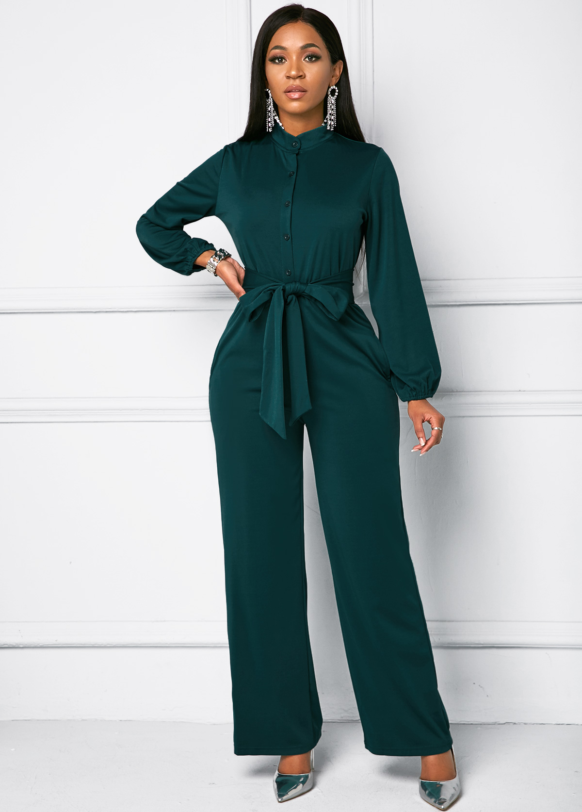 Belted Button Front Long Sleeve Jumpsuit