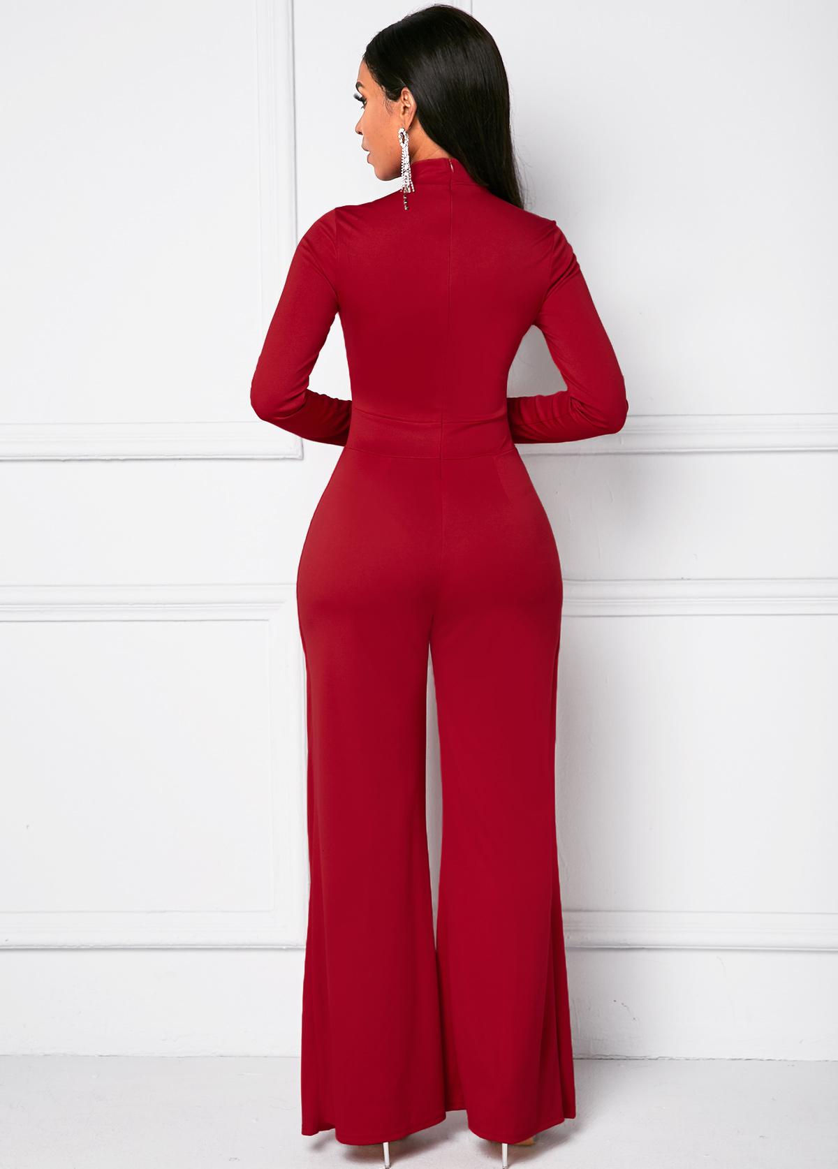 Long Sleeve Mock Neck Red Wide Leg Jumpsuit