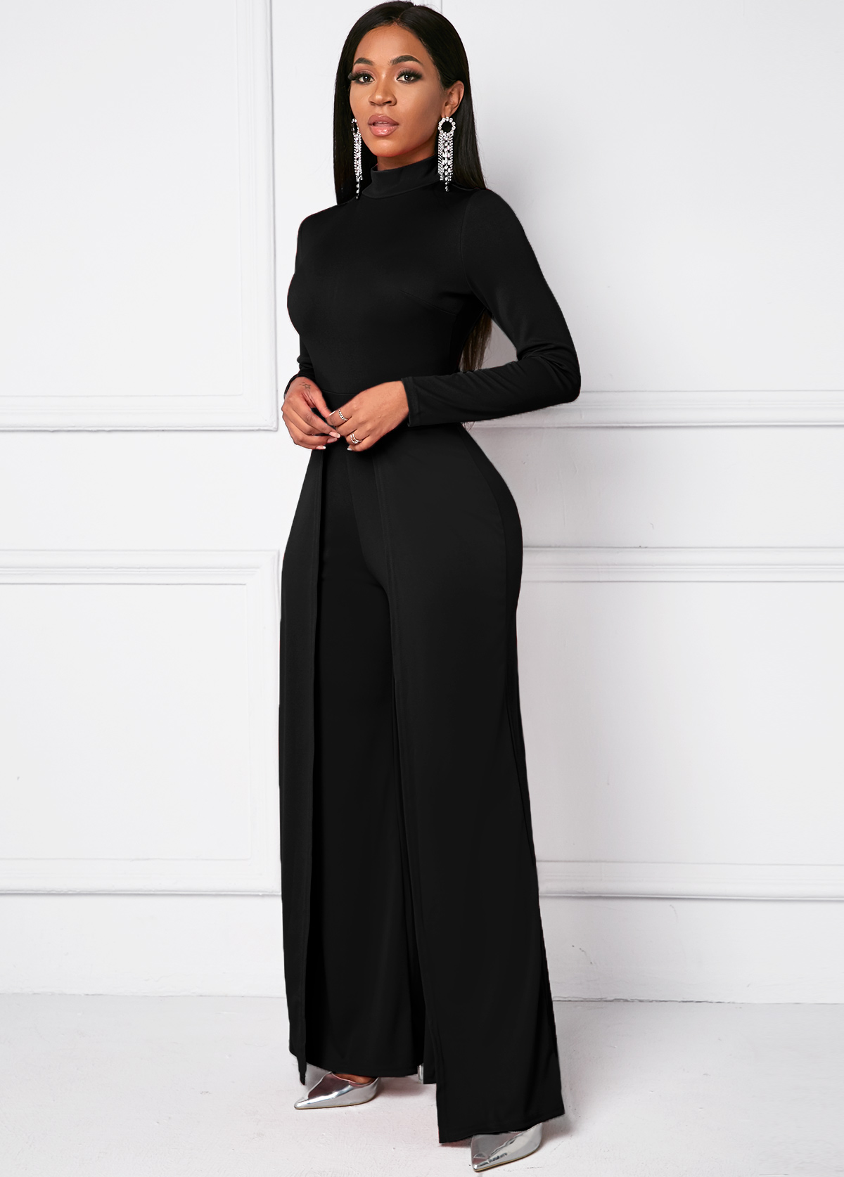 Long Sleeve Mock Neck Black Wide Leg Jumpsuit