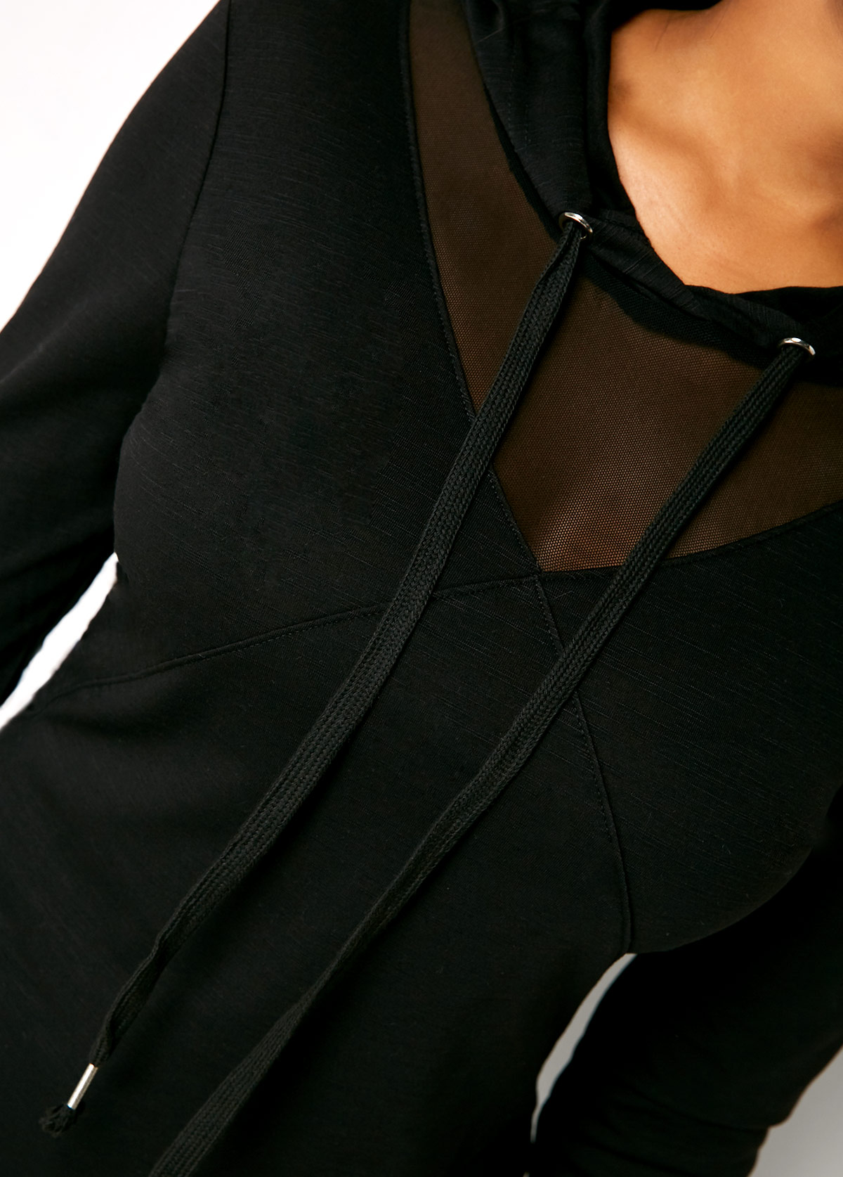 Black Long Sleeve Drawstring Neck Hoodie