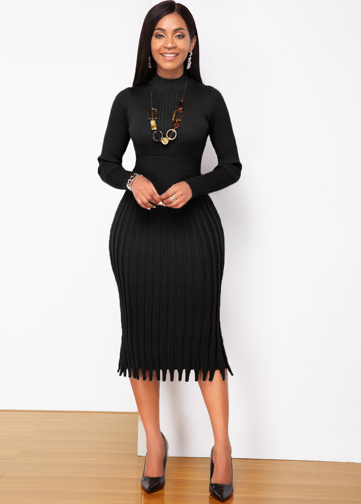 Round Neck Long Sleeve Pleated Sweater Dress
