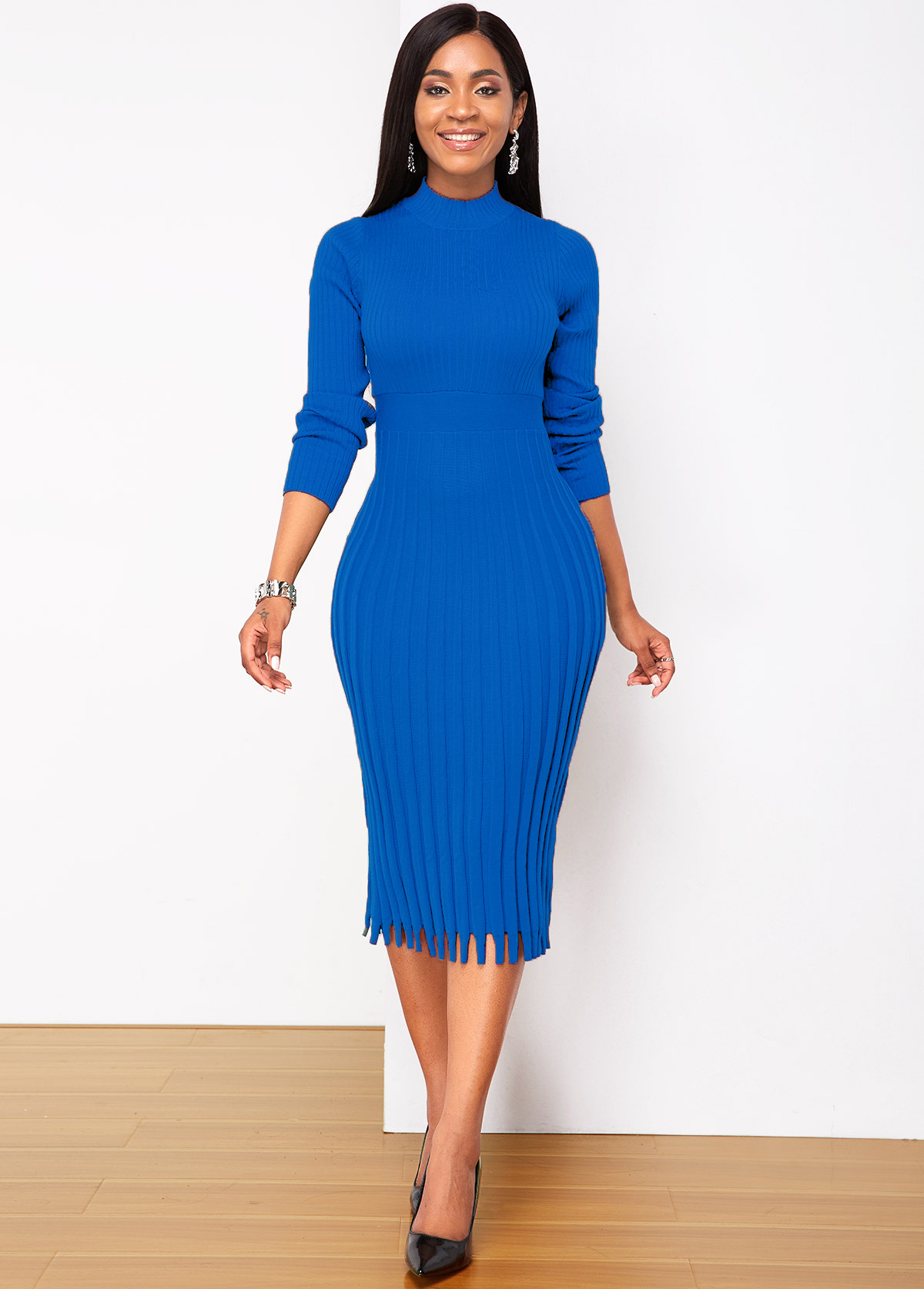 Long Sleeve Round Neck Pleated Sweater Dress