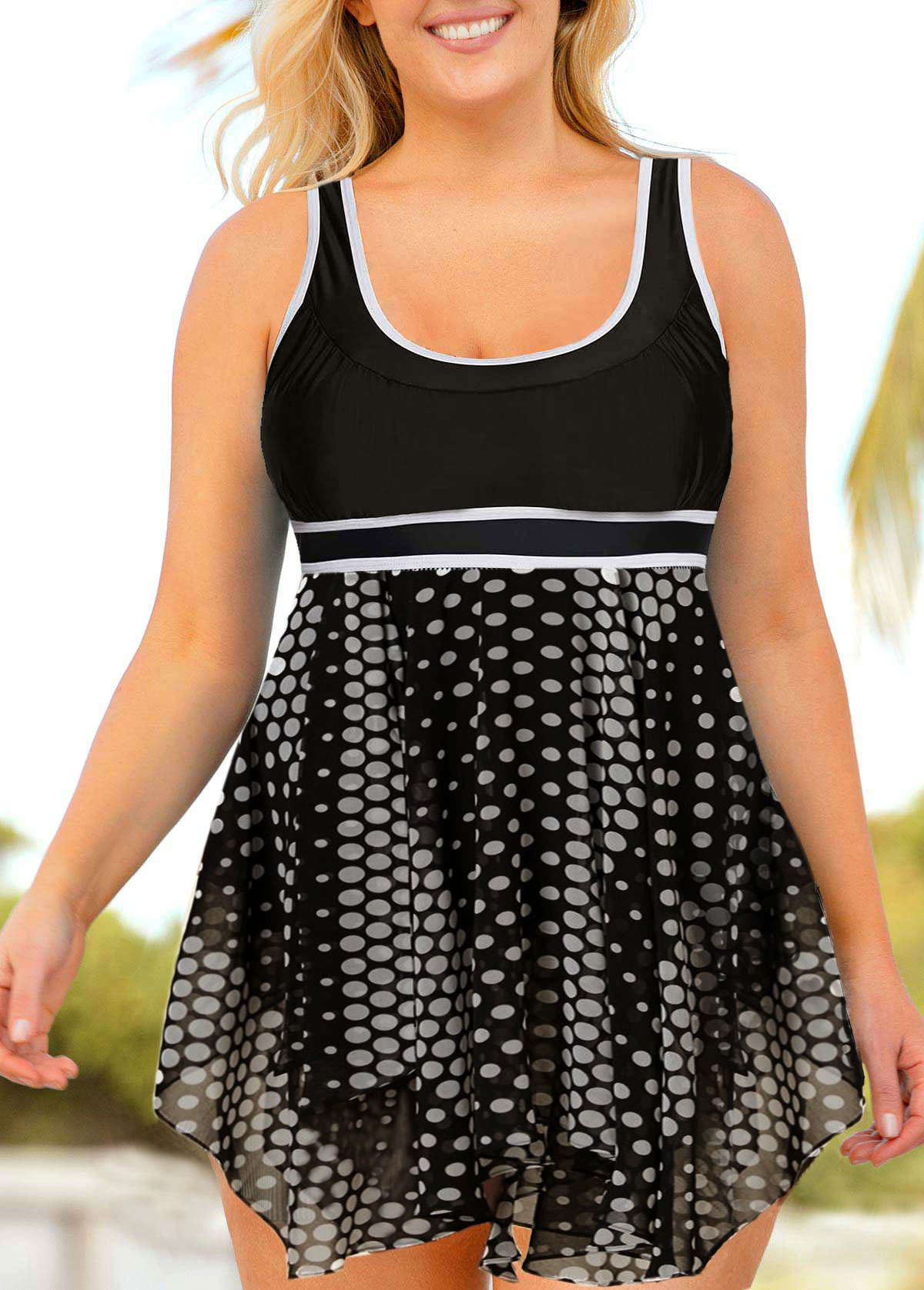 Asymmetric Hem Polka Dot Plus Size Swimdress and Shorts
