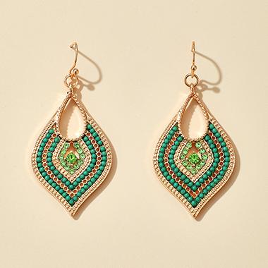 Green Rhinestone Detail Leaf Shape Earring Set