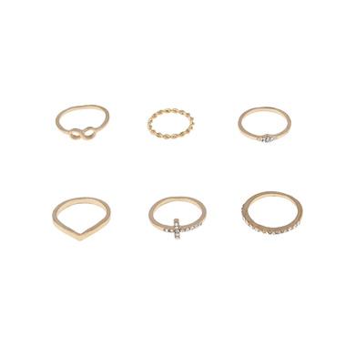 Gold Metal Rhinestone Detail Ring Set