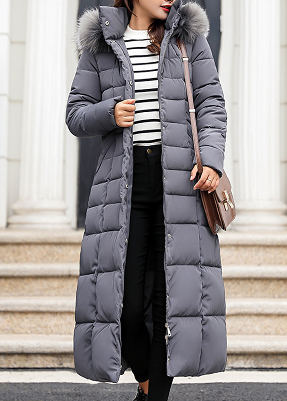 Hooded Collar Belted Faux Fur Padded Coat