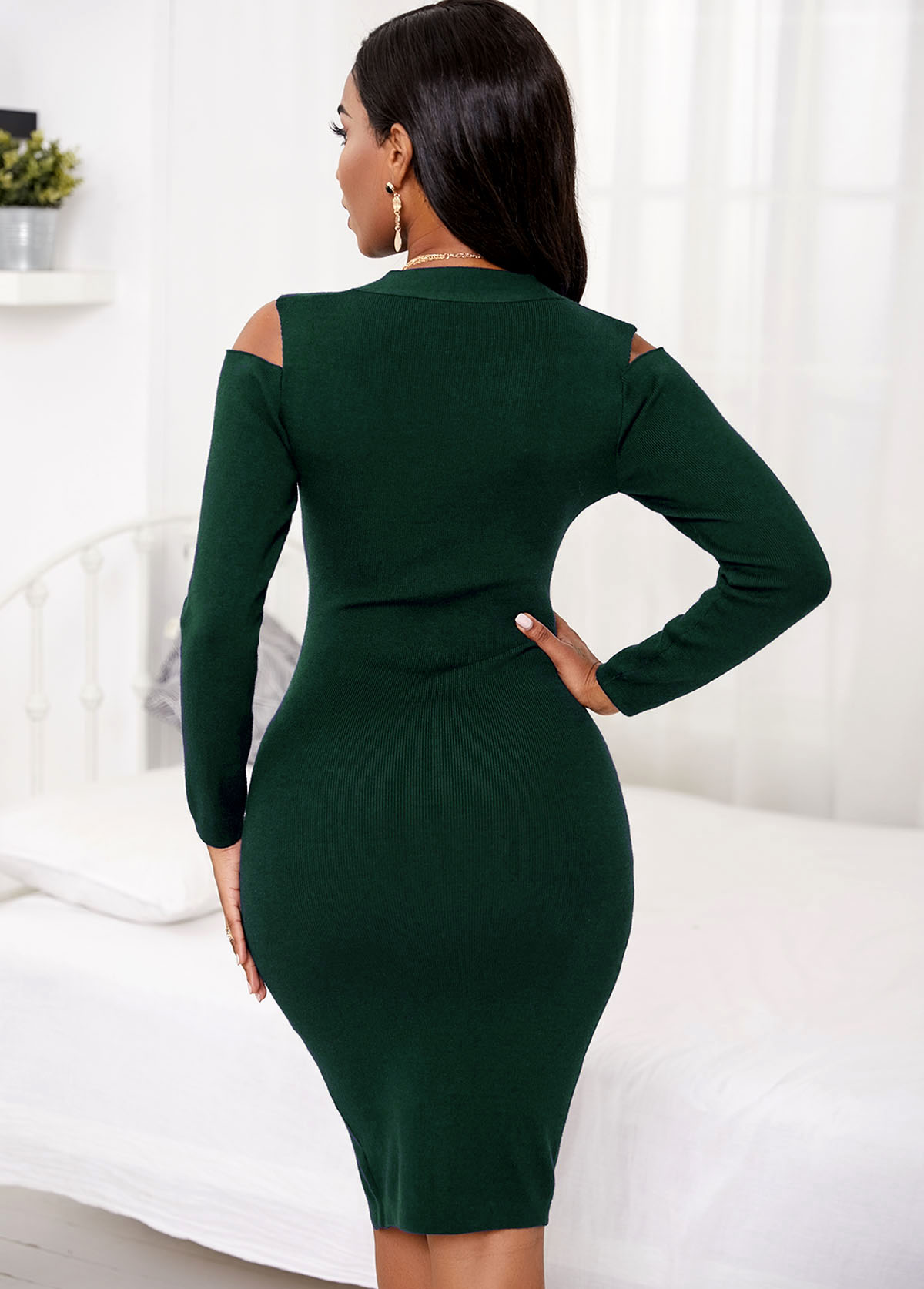 Cold Shoulder Long Sleeve Button Sweater Dress