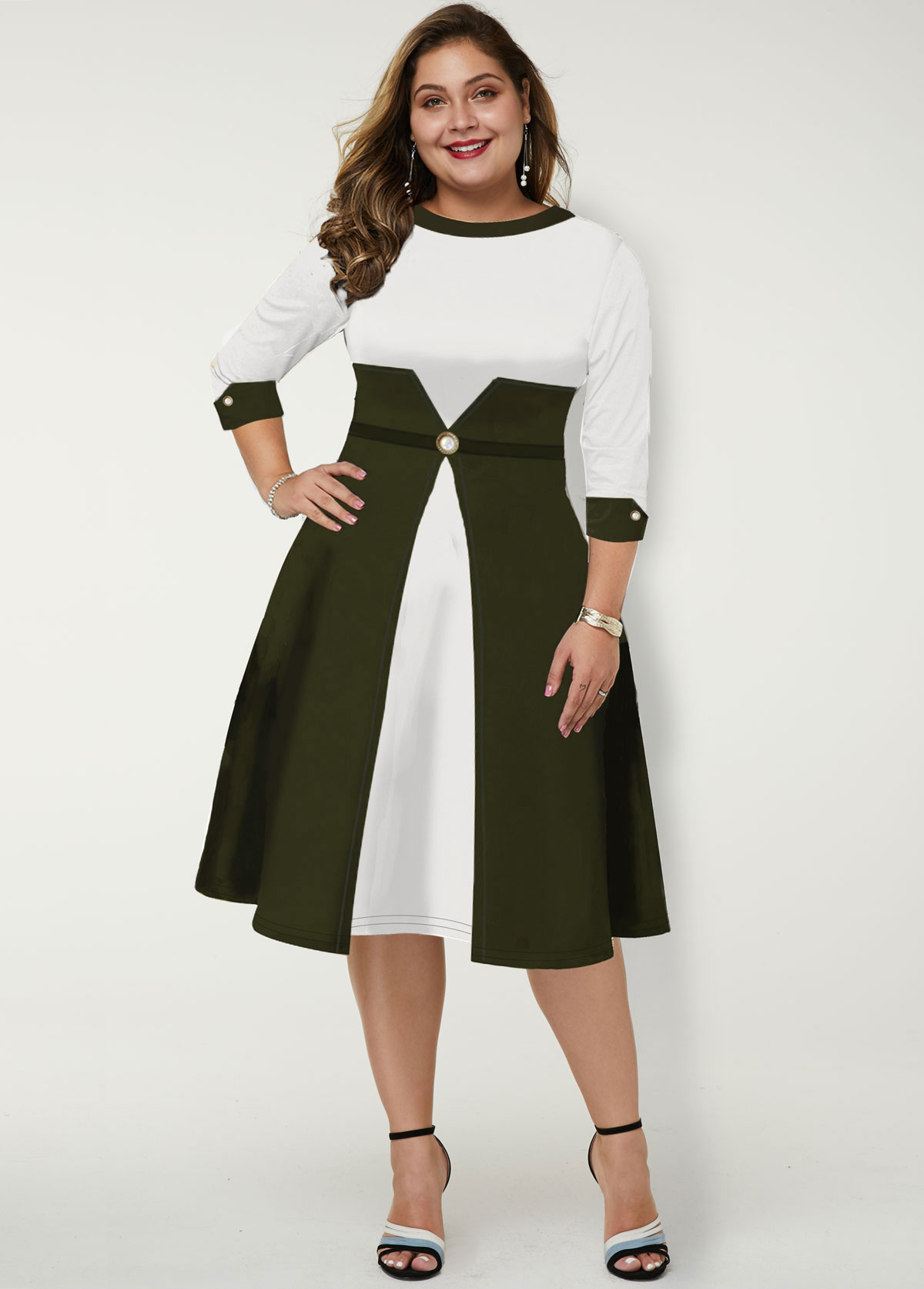Color Block Round Neck Plus Size Dress