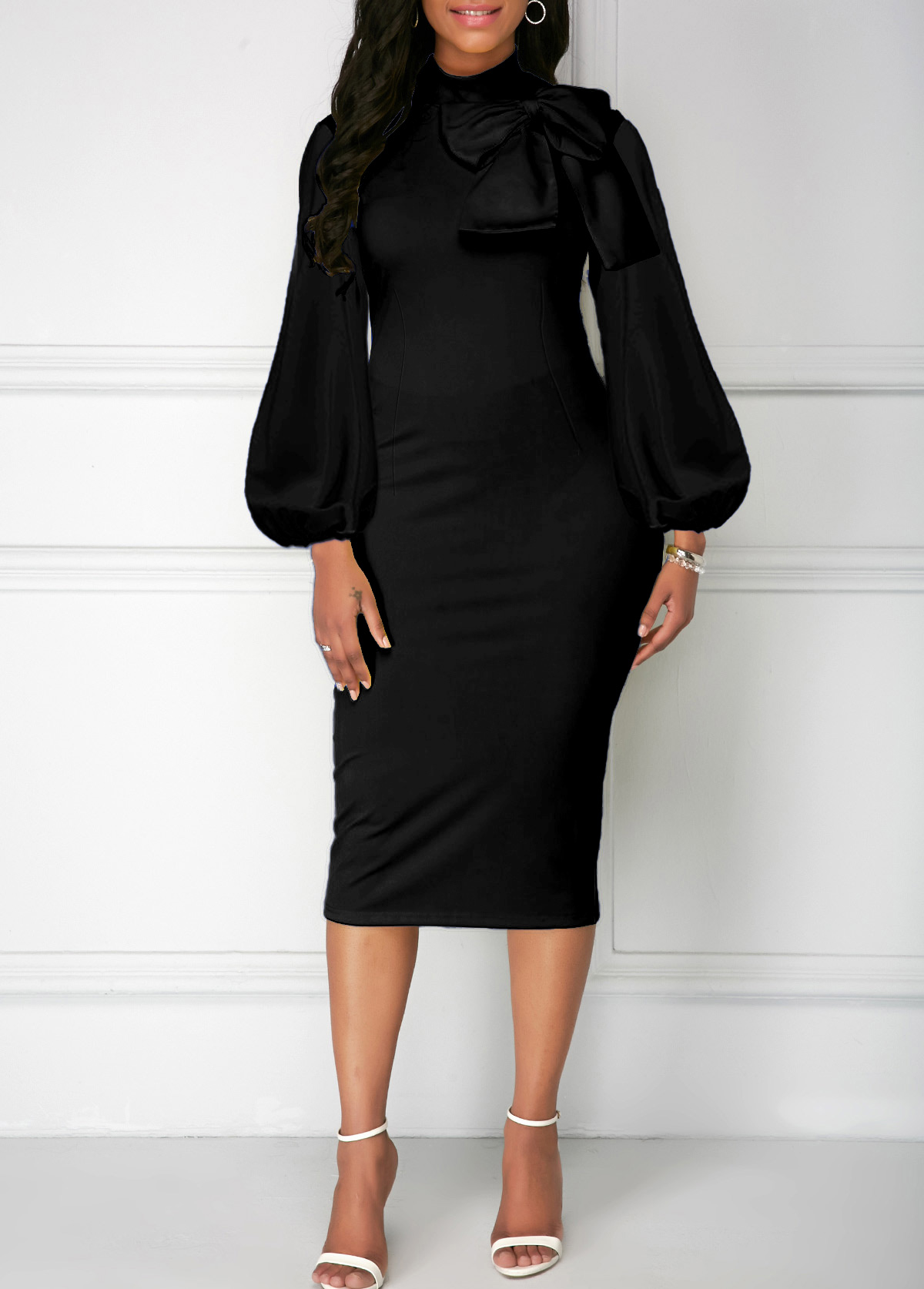 Black Bowknot Neck Lantern Sleeve Sheath Dress