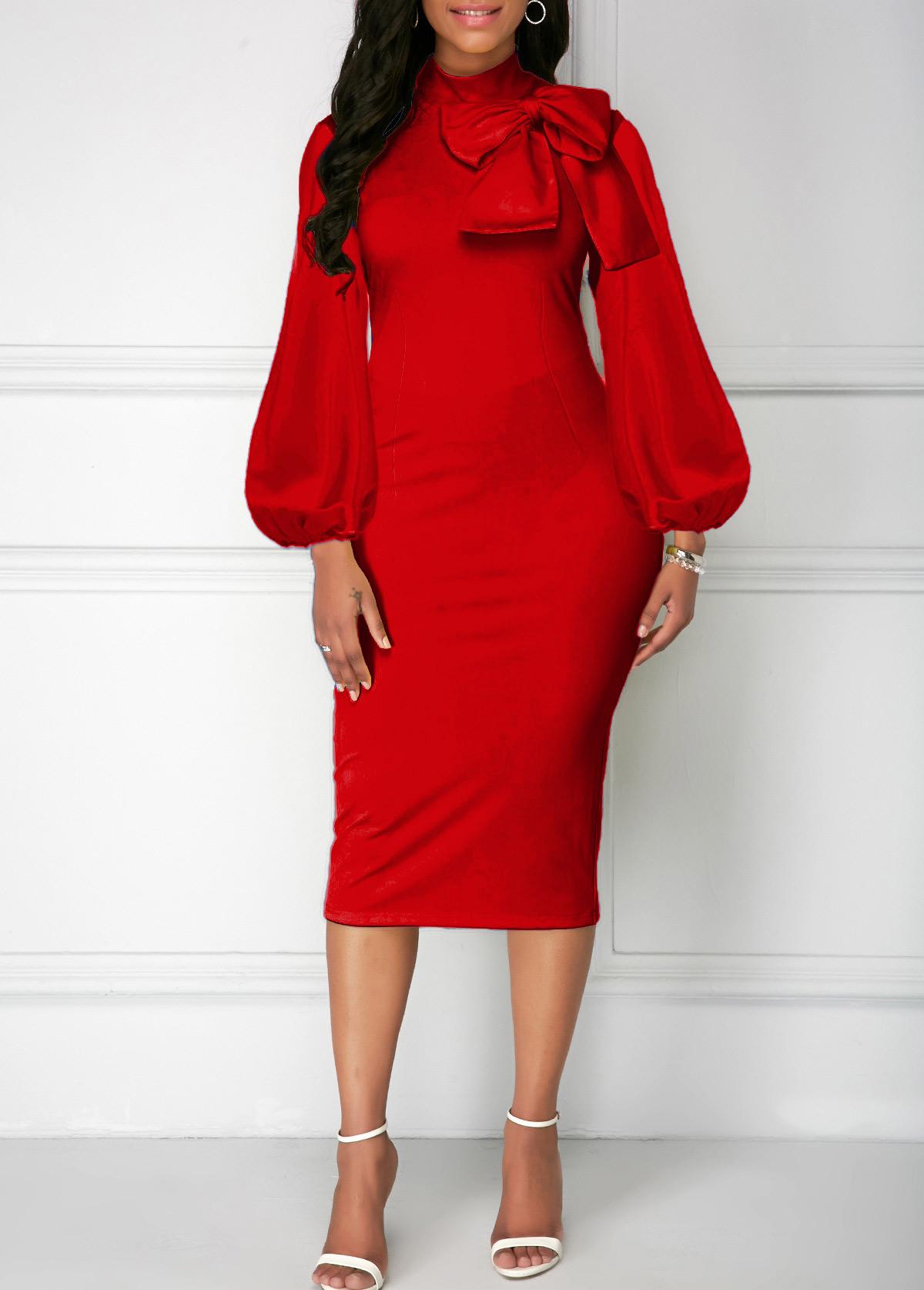 Red Bowknot Neck Lantern Sleeve Sheath Dress