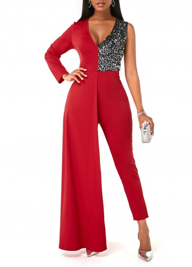 Rosewe Women Red Sequin One Shoulder Contrast V Neck Cocktail Party Jumpsuit Plunging Neck Skinny Ankle Length Holiday Jumpsuit - XL